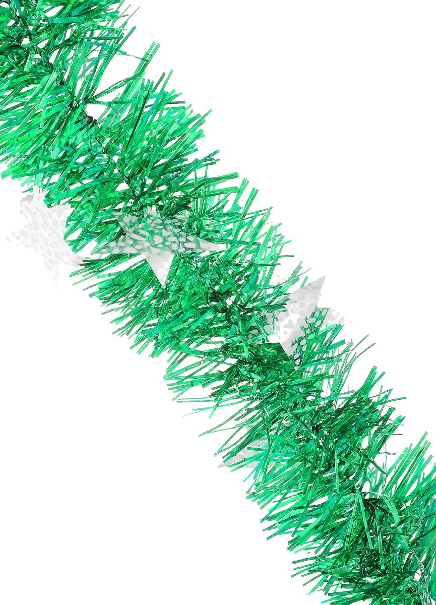 Мишура новогодняя Sima-land, цвет: зеленый, серебристый, диаметр 9 см, длина 2 м. 825983825983_зеленый, серебристыйНовогодняя мишура Sima-land, выполненная из ПЭТ (полиэтилентерефталат), поможет вам украсить свой дом к предстоящим праздникам. Изделие декорировано звездами. Новогодняя елка с таким украшением станет еще наряднее. Мишура армирована, то есть имеет проволоку внутри и способна сохранять форму. Новогодней мишурой можно украсить все, что угодно - елку, квартиру, дачу, офис - как внутри, так и снаружи. Можно сложить новогодние поздравления, буквы и цифры, мишурой можно украсить и дополнить гирлянды, можно выделить дверные колонны, оплести дверные проемы. Коллекция декоративных украшений из серии Magic Time принесет в ваш дом ни с чем не сравнимое ощущение волшебства! Создайте в своем доме атмосферу тепла, веселья и радости, украшая его всей семьей.
