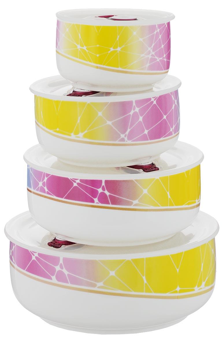 Набор контейнеров для хранения продуктов Darsto Радуга, 4 шт5813A4-RAINBOWНабор Darsto Радуга состоит из 4 контейнеров разного объема, выполненных из высококачественного фарфора. Контейнеры оснащены вакуумными крышками с силиконовыми вставками, которые плотно закрываются, тем самым дольше сохраняя пищу вкусной и свежей. Уникальная технология ClipFresh обеспечивает 100% герметичность и исключает вытекание жидкости. Эстетичность и необыкновенная функциональность набора Darsto Радуга позволит ему стать достойным дополнением к вашему кухонному инвентарю. Внутренняя часть коробки украшена желтым атласом, и каждый предмет надежно закреплен. Подходят для использования в микроволновой печи и в посудомоечной машине. Объем контейнеров: 310 мл; 540 мл; 800 мл; 1,5 л. Диаметр контейнеров (по верхнему краю): 10 см; 12,5 см; 15 см; 18 см. Высота контейнеров: 6,5 см; 6,5 см: 6,5 см; 7,5 см.