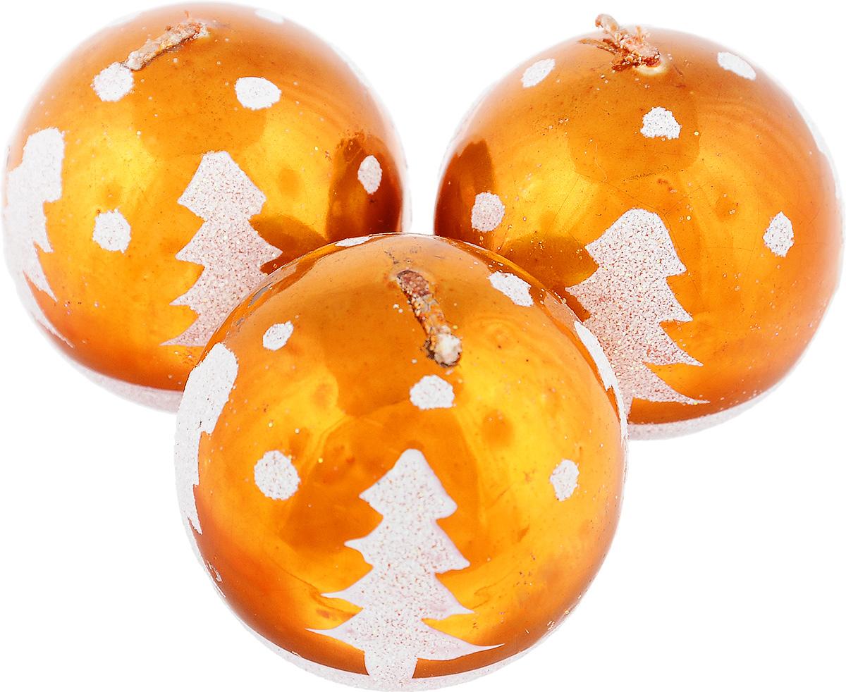 Набор свечей Winter Wings Шар, цвет: оранжевый, диаметр 5 см, 3 штFS-91909Набор Winter Wings Шар состоит из трех свечей в виде елочных шаров, оформленных блестками и изображением елок. Свечи, выполненные из парафина, располагаются на пластиковой подставке. Такие свечи создадут атмосферу таинственности и загадочности и наполнят ваш дом волшебством и ощущением праздника. Хороший сувенир для друзей и близких.