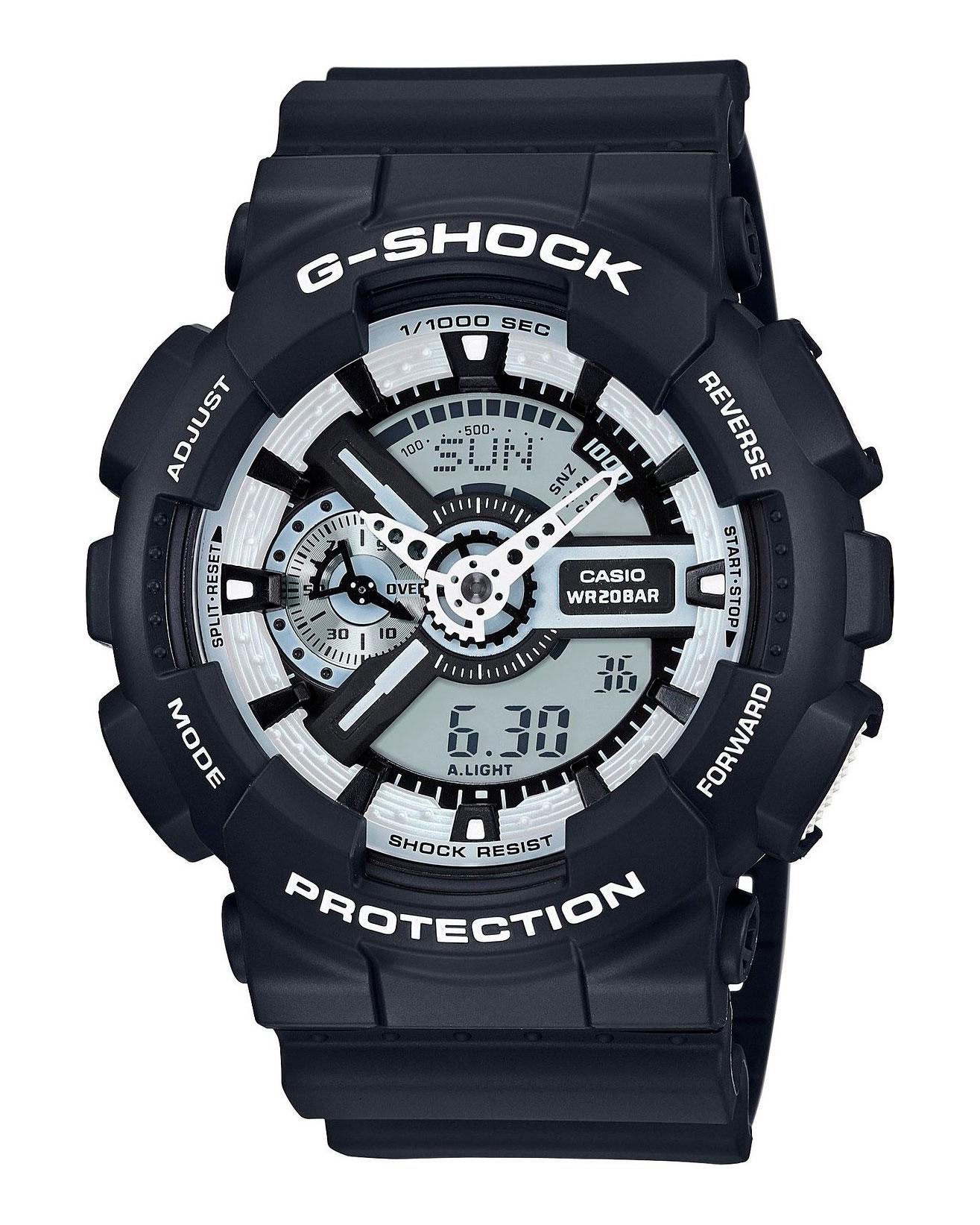 Часы наручные мужские Casio G-Shock, цвет: черный, белый. GA-110BW-1AGA-110BW-1AМногофункциональные мужские часы Casio G-Shock, выполнены из минерального стекла, металлического сплава и полимерного материала. Корпус часов оформлен символикой бренда. Часы оснащены ударопрочным корпусом с электронно-механическим механизмом, имеют степень влагозащиты равную 20 atm, а также дополнены устойчивым к царапинам минеральным стеклом. Браслет часов оснащен застежкой-пряжкой, которая позволит с легкостью снимать и надевать изделие. Корпус часов дополнен мощной светодиодной подсветкой. Дополнительные функции: таймер, будильник, функция повтора будильника, секундомер, функция мирового времени, автоматический календарь, отображение времени в 12-часовом или 24-часовом формате, функция отображения средней скорости пройденного маршрута. Часы поставляются в фирменной упаковке. Многофункциональные часы Casio G-Shock подчеркнут отменное чувство стиля своего обладателя.