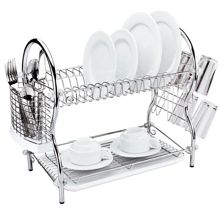 Сушилка для посуды Mayer & Boch, двухъярусная, 54 х 25 х 45 см4002Двухъярусная сушилка для посуды Mayer & Boch выполнена из хромированной нержавеющей стали и полипропилена. Изделие оснащено поддоном для стекания воды и подставками для столовых приборов и стаканов. Сушилка может быть установлена как на столе, так и подвешена на стену при помощи крючков (не входят в комплект). Размер сушилки (с учетом подставок): 54 см х 25 см х 45 см. Размер поддона: 38 см х 25 см х 2,5 см.