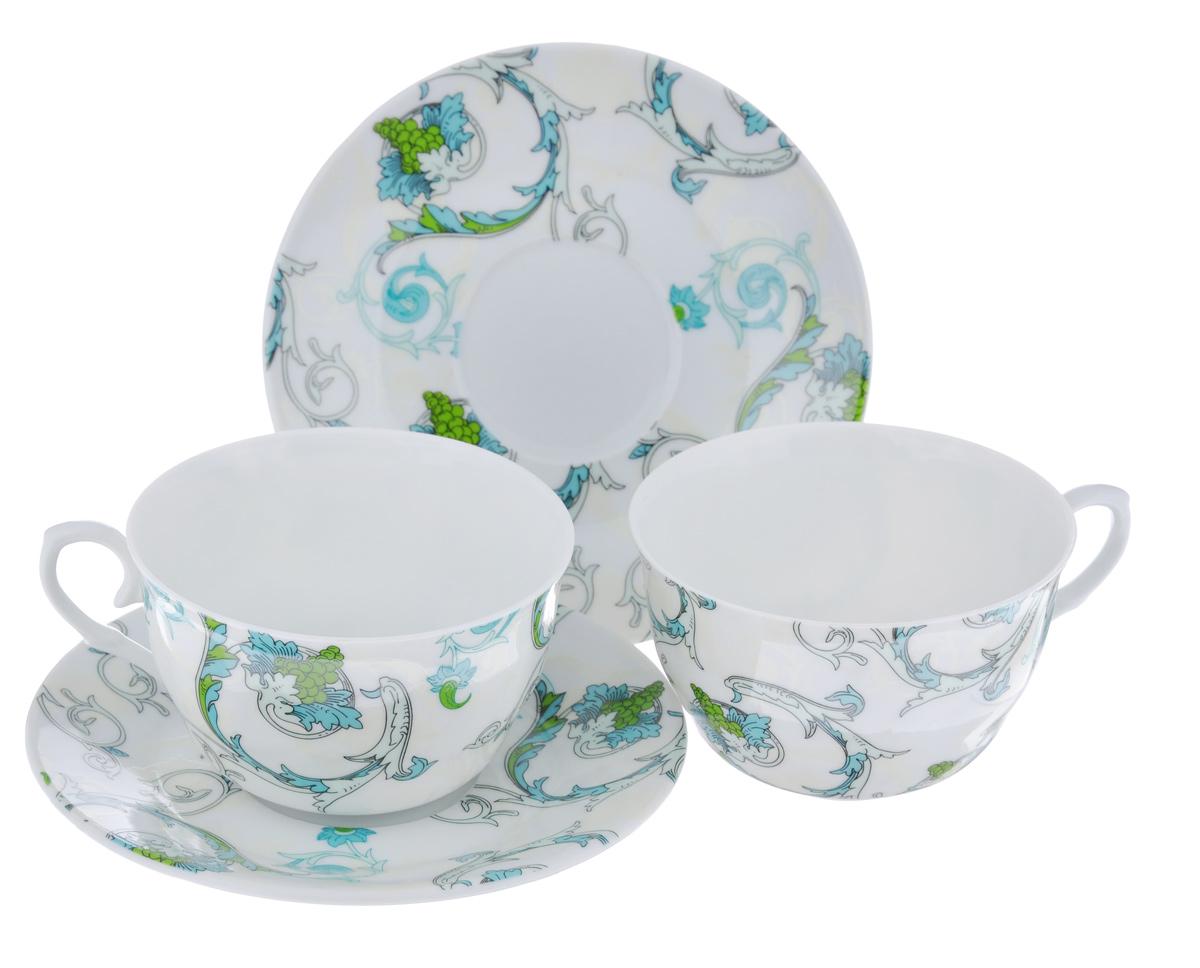 Набор чайный LarangE Рококо, 4 предмета586-323Чайный набор LarangE Рококо состоит из 2 чашек и 2 блюдец. Изделия, выполненные из высококачественного фарфора, имеют элегантный дизайн и классическую круглую форму. Такой набор прекрасно подойдет как для повседневного использования, так и для праздников. Чайный набор LarangE Рококо - это не только яркий и полезный подарок для родных и близких, это также великолепное дизайнерское решение для вашей кухни или столовой. Объем чашки: 250 мл. Диаметр чашки (по верхнему краю): 10 см. Высота чашки: 6,5 см. Диаметр блюдца (по верхнему краю): 15 см. Высота блюдца: 1,5 см.