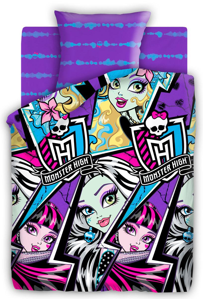 Monster High Комплект детского постельного белья Молнии 1,5-спальный1100АПостельное белье Monster High Молнии выполнено из высококачественного поплина. Комплект состоит из пододеяльника, простыни и наволочки. Пододеяльник оформлен ярким контрастным принтом. Такой комплект несомненно придется по душе каждой юной поклоннице мультсериала Школа Монстров.Постельное белье из поплина отличается тем, что оно не только прочное, хорошо сохраняет форму и цвет, но и имеет приятную мягкую поверхность. Поплин хорошо удерживает тепло, превосходно впитывает влагу и позволяет телу дышать.