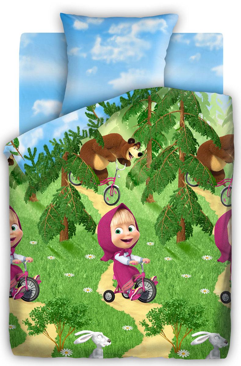 Маша и Медведь Комплект детского постельного белья Велогонка 1,5-спальный284777Постельное белье Маша и Медведь Велогонка выполнено из высококачественного хлопка. Комплект состоит из пододеяльника, простыни и наволочки. Предметы набора оформлены рисунком в виде героев мультсериала Маша и Медведь. Изделия из хлопка обладают превосходными качествами, так как они отлично пропускают воздух, хорошо впитывают влагу - соответственно контролируют температуру тела, приятны на ощупь и комфортны, а главное полезны для здоровья.