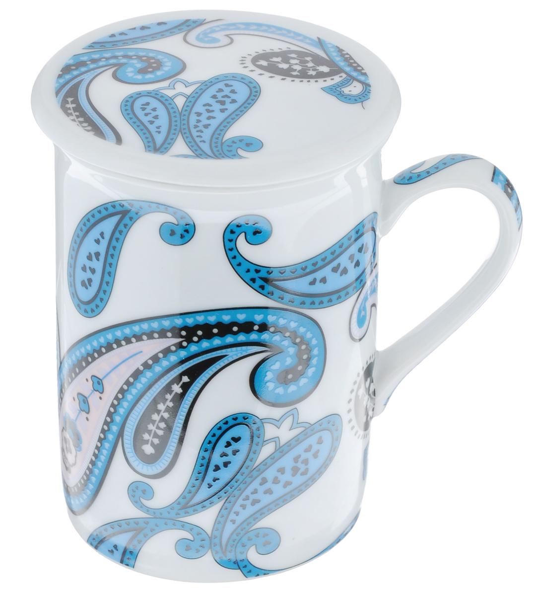 Кружка заварочная LarangE Пейсли, цвет: белый, синий, 330 млVT-1520(SR)Заварочная кружка LarangE Пейсли изготовлена из высококачественного фарфора.Внешние стенки оформлены ярким рисунком. Изделие оснащено съемнымметаллическим фильтром и фарфоровой крышкой. Заварочная кружка поможет быстро и вкусно заварить чай на одну порцию, не используязаварочный чайник.Такой набор станет хорошим подарком, а также придаст кухонному интерьеруособый колорит.Объем кружки: 330 мл. Диаметр кружки (по верхнему краю): 7,5 см.Высота стенки кружки: 10 см.Глубина ситечка: 5 см.Не рекомендуется применять абразивные моющие средства.