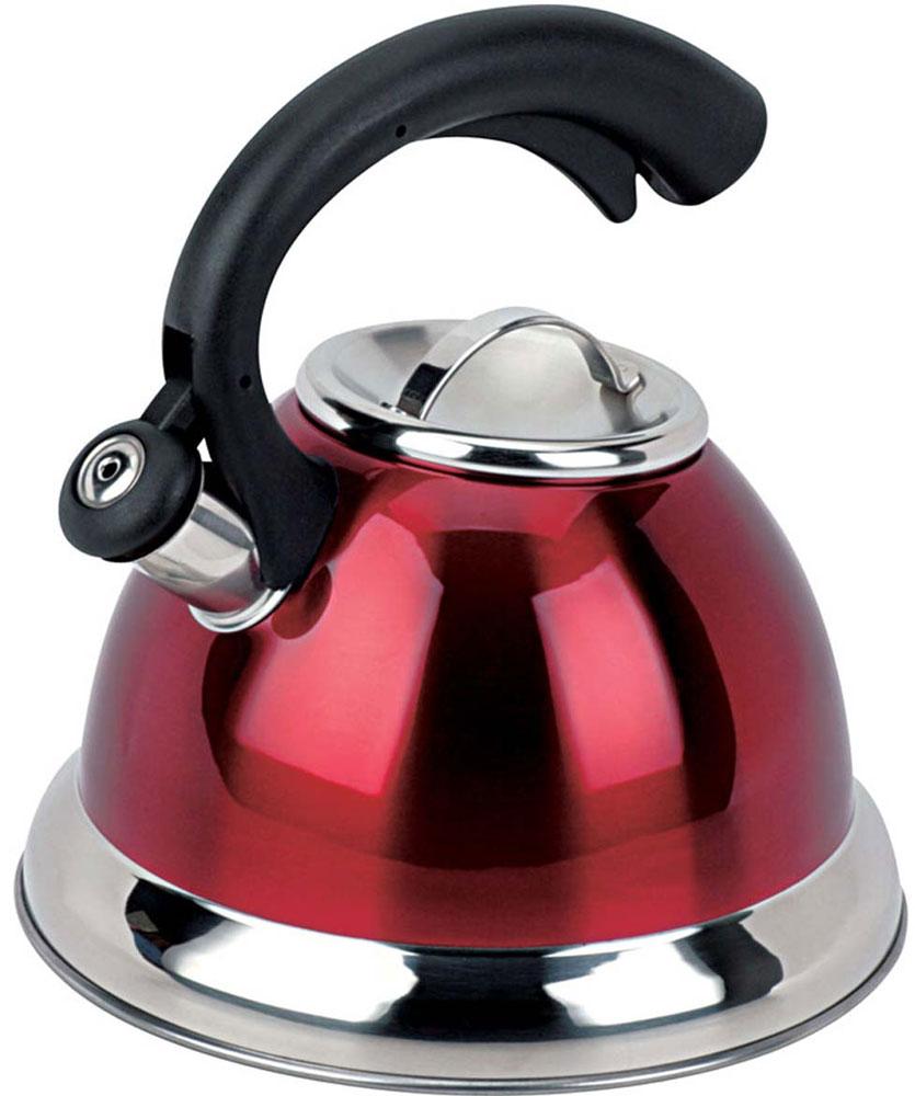 Чайник Bekker Premium со свистком, цвет: красный, черный, 3,2 л. BK-S412BK-S412_красныйЧайник Bekker Premium изготовлен из высококачественной нержавеющей стали 18/10 с цветным матовым покрытием. Капсулированное дно распределяет тепло по всей поверхности, что позволяет чайнику быстро закипать. Крышка на носик и эргономичная фиксированная ручка выполнены из бакелита черного цвета. Носик оснащен откидным свистком, который подскажет, когда закипела вода. Свисток открывается и закрывается нажатием кнопки на рукоятке. Подходит для всех типов плит, включая индукционные. Можно мыть в посудомоечной машине. Диаметр (по верхнему краю): 10 см. Диаметр основания: 22 см. Высота чайника (без учета ручки): 13,5 см. Высота чайника (с учетом ручки): 24 см.