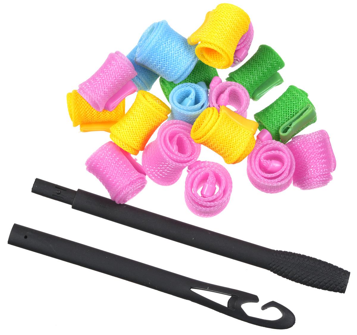 Magic Roller Бигуди круглые, 18 штFS-00897Набор бигуди Magic Roller является простым и легким способом всегда выглядеть безупречно и стильно! Предназначен для создания мелких кудряшек, локонов и волн, а также придания дополнительного объема. Бигуди произведены из мягкого материала, и в них можно спать.Magic Roller выполнены из мягкого пластика с силиконовыми наконечниками, что позволяет им служить долго, подходят для кончиков и на волосы до 25 см, а также на каскадную стрижку.Ваша прическа зависит только от вашей фантазии и настроения!Преимущества волшебных бигуди Magic Roller: Создают большой объем.Удобны и легки в использовании. Справится даже ребенок!Подходят как для коротких, так и для волос до 25 см.Позволяют легко контролировать направление и равномерность укладки без заломов.Обеспечивают бережное отношение к волосам.Смена имиджа за час.Процесс накручивания бигуди Magic Roller никогда не утомит вас.Экономия времени и денег на дорогих салонах.Возможны любые прически: от струящихся локонов, до фиксированных вечерних и свадебных причесок.Волшебные бигуди Magic Roller - это здоровая альтернатива химической завивке.К бигудям прилагается специальный крючок для протягивания пряди внутрь бигуди.Бигуди надеваются на влажные волосы и высушиваются тёплым феном, так что даже самые жесткие и непослушные волосы подчиняются и ложатся красивыми спиральными локонами.Порядок использования:1. Слегка намочить волосы.2. Собрать двойной крючок.3. Слегка намочить волосы. Нанести мусс или гель при необходимости на влажные волосы.4. Пропустить крючок через бигуди насквозь.5. Зацепить небольшую прядь с помощью крючка у основания локона.6. Пропустить прядь с помощью крючка сквозь бигуди.7. Проделать то же самое с остальными бигуди по всему контуру головы.8. Подержать волосы 5-10 минут.9. Высушить волосы феном или с помощью термо шапки.10. Придерживая одной рукой локон у основания, другой снять бигуди.Причёска готова.Если волосы жёсткие и непослушные рекомендуется поносить бигуди подольш