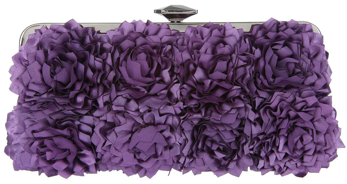 Клатч Fabretti, цвет: фиолетовый. WL8694WL8694-purpleЭлегантный вечерний клатч Fabretti выполнен из полиэстера. Клатч оформлен кокетливыми цветками из полиэстера. Изделие содержит одно отделение и закрывается на рамочный замок, который оформлен граненым кристаллом. Внутри расположен накладной карман. Клатч оснащен укороченным наплечным ремнем-цепочкой. Клатч Fabretti прекрасно завершит ваш праздничный образ.