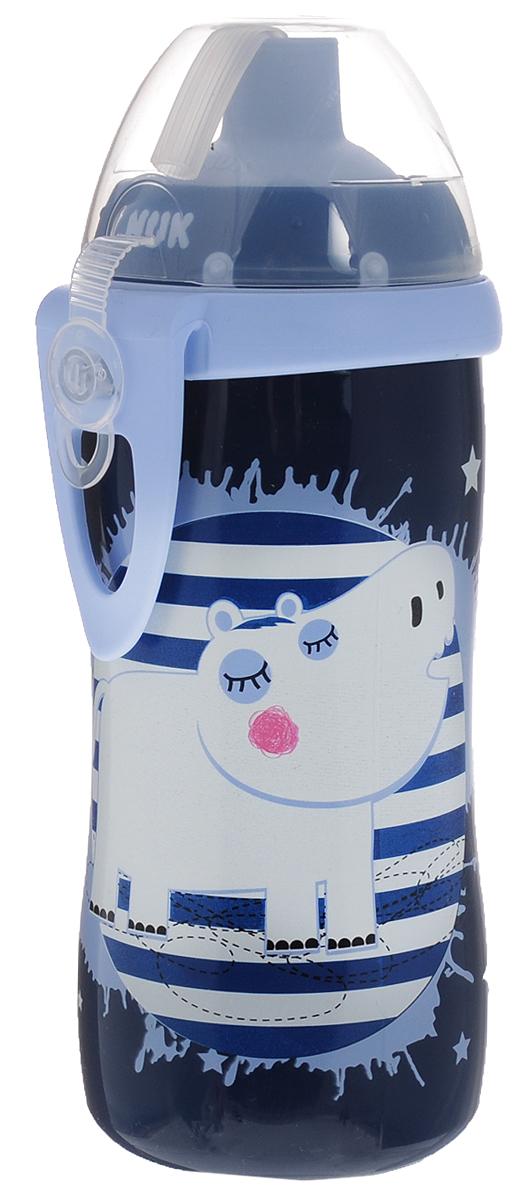 NUK Бутылочка-поильник с трубочкой Flexi Cup от 18 месяцев цвет темно-синий 300 мл