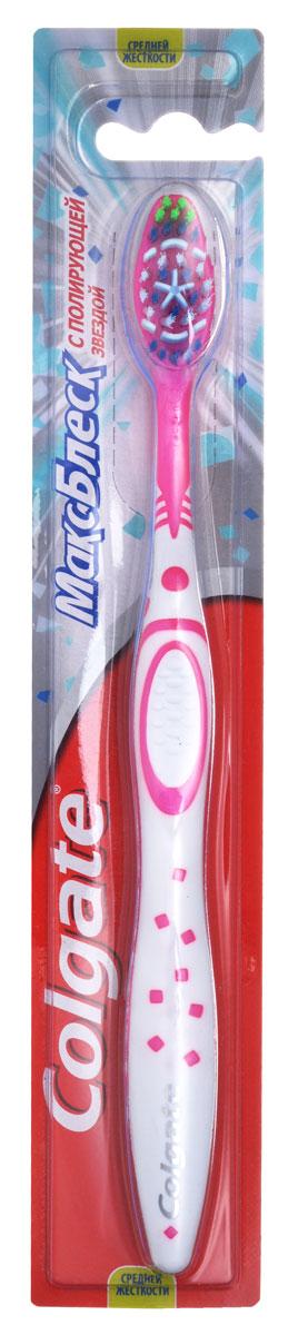 Colgate Зубная щетка Макс Блеск, средней жесткости, цвет: розовыйSatin Hair 7 BR730MNЗубная щетка Colgate Макс Блеск подарит вам ослепительно белоснежную улыбку с помощью уникальной полирующей звезды и специально разработанных щетинок средней жесткости, которые помогают мягко удалять потемнения на эмали, возвращая зубам естественную белизну. Ручка щетки имеет для большого пальца упор, предназначенный для большего удобства, и рельефный выступ для большего контроля.Товар сертифицирован.