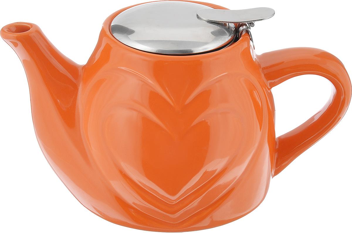 Чайник заварочный Mayer & Boch, цвет: оранжевый, 500 мл23058Заварочный чайник Mayer & Boch изготовлен из высококачественной керамики и нержавеющей стали. Глянцевый корпус обеспечивает легкую очистку. Изделие оснащено ситом. Чайник поможет заварить крепкий ароматный чай и великолепно украсит стол к чаепитию. Диаметр чайника (по верхнему краю): 7,5 см. Высота чайника (без учета крышки): 10,5 см.