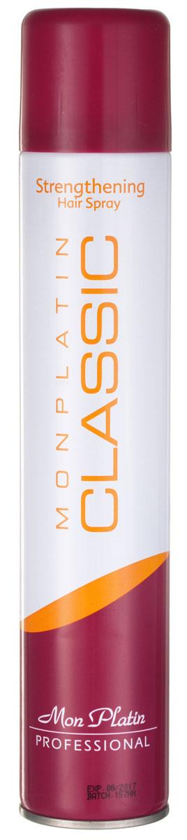 Mon Platin Professional Спрей «Классик» для волос 400млMP19Спрей Classic для волос представляет собой качественный продукт – лак, не содержащий газа. Придает волосам здоровый ухоженный внешний вид, обладает длительным укладочным эффектом, прекрасно и легко вычесывается, не склеивает волосы (эластичная фиксация), для всех типов волос, как для моделирования укладок, так и для фиксации конечного результата в прическах.
