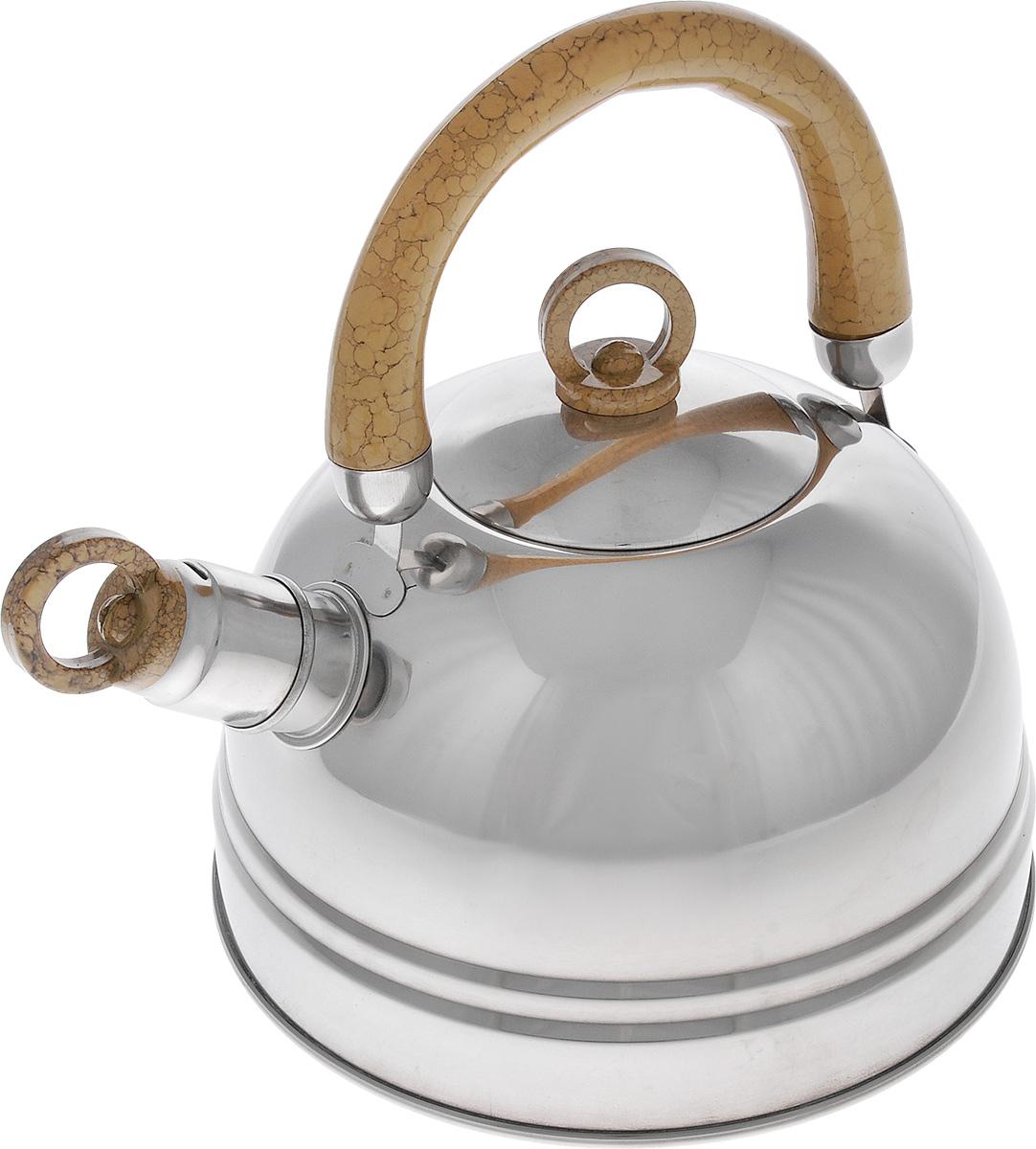 Чайник Bekker Koch, со свистком, цвет: светло-коричневый, 2,5 л. BK-S367MBK-S367М_светло-коричневыйЧайник Bekker Koch изготовлен из высококачественной нержавеющей стали с зеркальной полировкой. Капсулированное дно распределяет тепло по всей поверхности, что позволяет чайнику быстро закипать. Эргономичная подвижная ручка выполнена из бакелита оригинального дизайна. Носик оснащен съемным свистком, который подскажет, когда вода закипела. Можно мыть мыть в посудомоечной машине. Толщина стенок: 0,4 мм. Высота чайника (без учета ручки): 12 см. Высота чайника (с учетом ручки): 22,5 см.