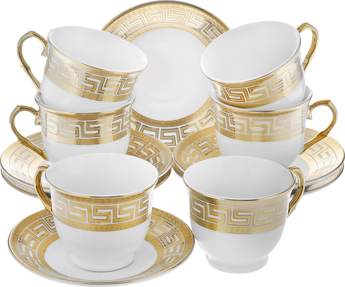 Сервиз кофейный Loraine, 12 предметов. 2159821598Кофейный сервиз Loraine состоит из 6 чашек и 6 блюдец. Изделия выполнены из высококачественной керамики и украшены красивым золотистым орнаментом. Такой сервиз станет прекрасным украшением стола и порадует гостей изысканным дизайном и утонченностью. Сервиз упакован в круглую подарочную коробку, задрапированную внутри белой атласной тканью. Объем чашки: 80 мл. Диаметр чашки (по верхнему краю): 6,5 см. Высота чашки: 5 см. Диаметр блюдца: 11 см.