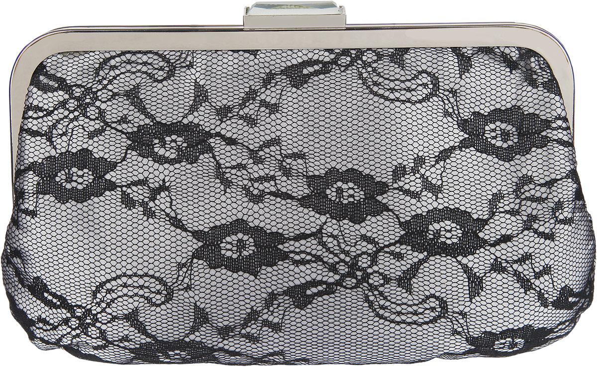 Клатч Fabretti, цвет: серый, черный. 94369436 greyЭлегантный вечерний клатч Fabretti выполнен из полиэстера. Клатч оформлен кружевом. Изделие содержит одно отделение и закрывается на рамочный замок, который оформлен кристаллом. Внутри расположен врезной карман на молнии. Клатч оснащен укороченным наплечным ремнем-цепочкой. Клатч Fabretti прекрасно завершит ваш праздничный образ.
