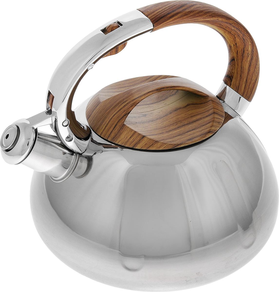 Чайник Mayer & Boch, со свистком, 2,6 л. 2241422414Чайник Mayer & Boch выполнен из высококачественной нержавеющей стали, что делает его весьма гигиеничным и устойчивым к износу при длительном использовании. Капсулированное дно с прослойкой из алюминия обеспечивает наилучшее распределение тепла. Носик чайника оснащен насадкой-свистком, что позволит вам контролировать процесс подогрева или кипячения воды. Фиксированная ручка, изготовленная из бакелита в цвет дерева, дает дополнительное удобство при разлитии напитка. Поверхность чайника гладкая, что облегчает уход за ним. Эстетичный и функциональный, с эксклюзивным дизайном, чайник будет оригинально смотреться в любом интерьере. Подходит для всех типов плит, включая индукционные. Можно мыть в посудомоечной машине. Высота чайника (без учета ручки и крышки): 11,5 см. Высота чайника (с учетом ручки и крышки): 21 см. Диаметр чайника (по верхнему краю): 11,5 см.
