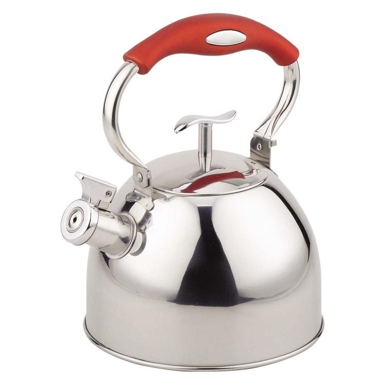 Чайник Mayer & Boch, со свистком, цвет: серебристый, красный, 3 л. 41274127Чайник Mayer & Boch выполнен из высококачественной нержавеющей стали, что делает его весьма гигиеничным и устойчивым к износу при длительном использовании. Капсулированное дно обеспечивает наилучшее распределение тепла. Носик чайника оснащен насадкой-свистком, что позволит вам контролировать процесс подогрева или кипячения воды. Фиксированная ручка, изготовленная из нержавеющей стали с силиконовым покрытием, делает использование чайника очень удобным и безопасным. Поверхность чайника гладкая, что облегчает уход за ним. Эстетичный и функциональный, с эксклюзивным дизайном, чайник будет оригинально смотреться в любом интерьере. Подходит для электрических, газовых, стеклокерамических и галогеновых плит. Не подходит для индукционных плит. Можно мыть в посудомоечной машине. Высота чайника (без учета ручки и крышки): 14 см. Высота чайника (с учетом ручки и крышки): 26 см. Диаметр чайника (по верхнему краю): 10 см.