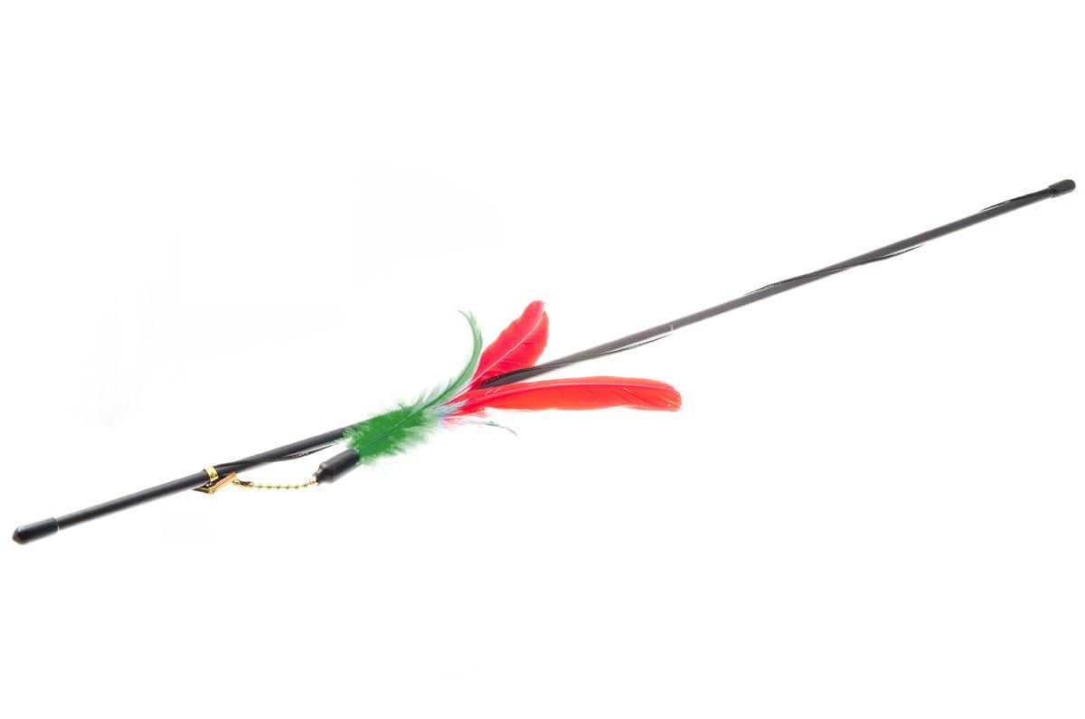 Дразнилка-удочка для кошек Hello Pet Гусиное перо, цвет: красный, зеленый, черный, 72 смVG-501_красный, зеленый, черныйДразнилка-удочка Hello Pet Гусиное перо доставит вашему питомцу массу удовольствия от игры с ней. Она представляет собой пластиковую палочку с веревкой, на которую прикреплены разноцветные перья. Дразнилка-удочка привлечет внимание кошек, которые любят общение, игры и охотиться. Игра с такой дразнилкой будет способствовать развитию и поддержанию мышц животного в тонусе. Длина палочки: 72 см.
