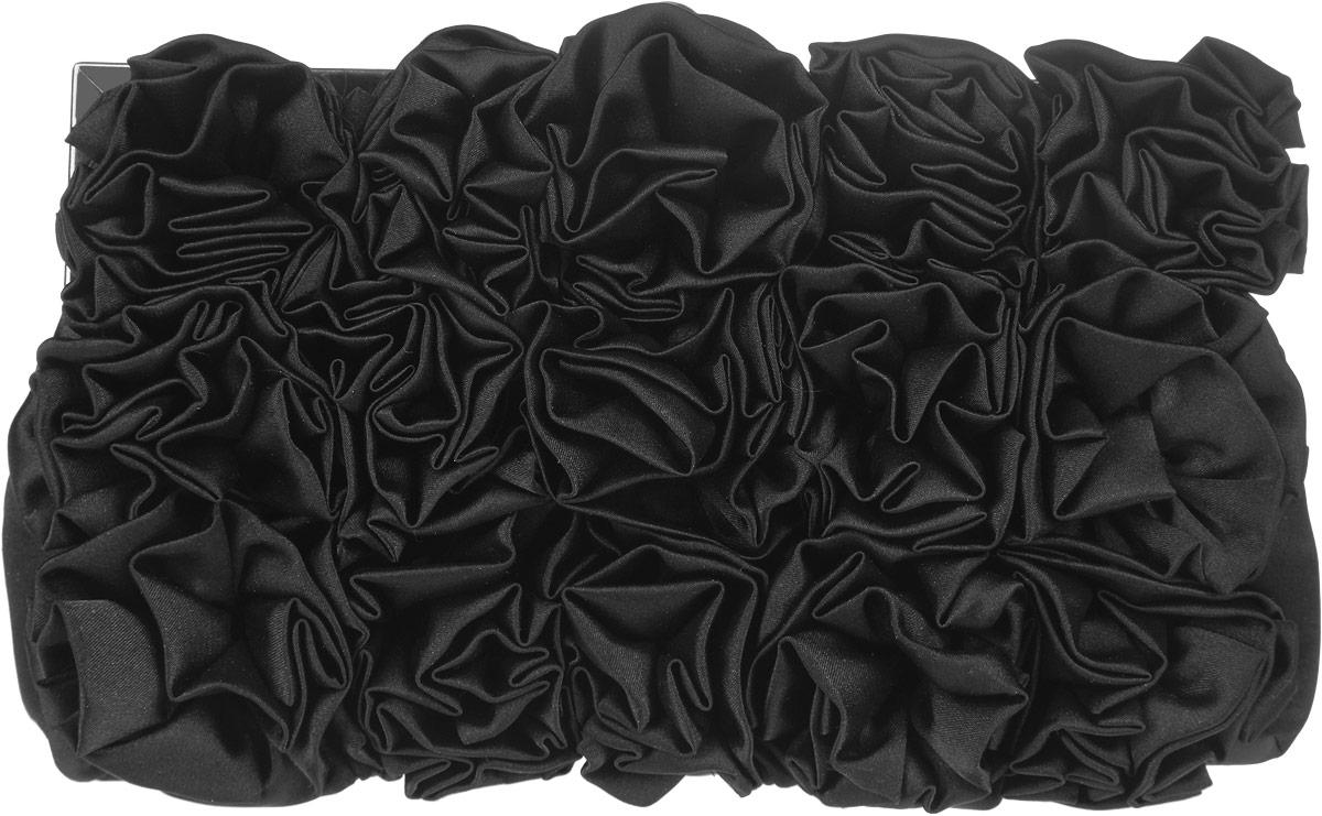 Клатч Fabretti, цвет: черный. WL866473298с-1Элегантный вечерний клатч Fabretti выполнен из полиэстера и металла. Изделие оформлено оригинальными цветами из полиэстера.Изделие содержит одно отделение и закрывается на рамочный замок. Внутри расположен накладной карман. Клатч оснащен укороченным наплечным ремнем-цепочкой.Клатч Fabretti прекрасно завершит ваш праздничный образ.
