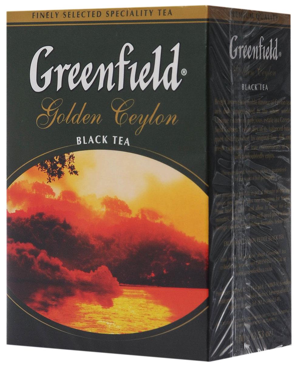 Greenfield Golden Ceylon черный листовой чай, 100 г0120710Яркий аромат и благородный вкус цейлонского чая покорили мир. Неповторимое очарование ценного плантационного чая Greenfield Golden Ceylon в его гармоничном букете, сочетающем тонкие оттенки с силой и полнотой вкуса, свежесть которого доставит истинное удовольствие ценителям.