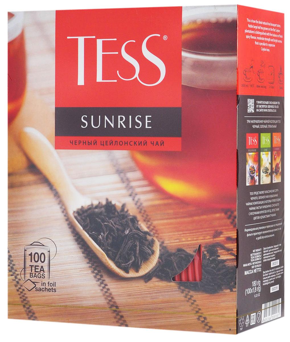 Tess Sunrise черный чай в пакетиках, 100 шт0918-09Черный байховый цейлонский чай Tess Sunrise отличается необыкновенно насыщенным ярким вкусом и тонким, очень приятным ароматом, свойственным цейлонским чаям.