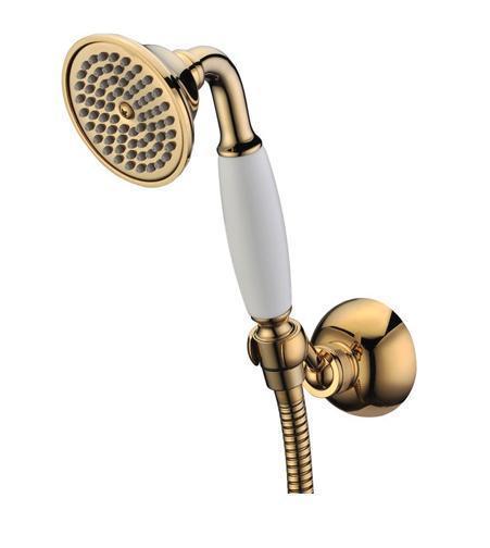 Лейка с держателем Gro Welle Muskat. MSG951MSG951Душевой комплект Gro Welle Muskat Gold воплощает в себе стильную простоту и комфорт в использовании. Комплект состоит из лейки и крепления, изготовленных из высококачественной латуни. Ручной душ имеет 1 режим: обильные душевые струи, напоминающие дождь. Такой режим позволяет принимать душ, омывая все тело, и эффективно промывать волосы от шампуня. Бронзовое покрытие CrystalLight позволяет укомплектовать данным гарнитуром смеситель для ванны или душа с бронзовым напылением. Набор идеально подходит для интерьеров в стиле ретро и кантри. Душевой комплект Gro Welle Muskat Gold удобен и практичен в работе. Размер лейки: 7,6 см х 8,5 см х 19,8 см.