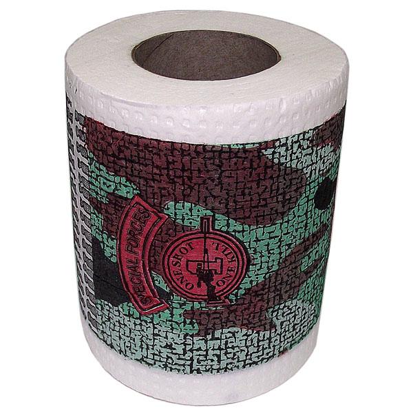Туалетная бумага Эврика Спецназ89879Качественная двухслойная туалетная бумага Эврика Спецназ с камуфляжным рисунком - оригинальный сувенир для людей, ценящих чувство юмора. Рулон имеет стандартный размер и упакован в пленку. Ширина рулона: 10 см.