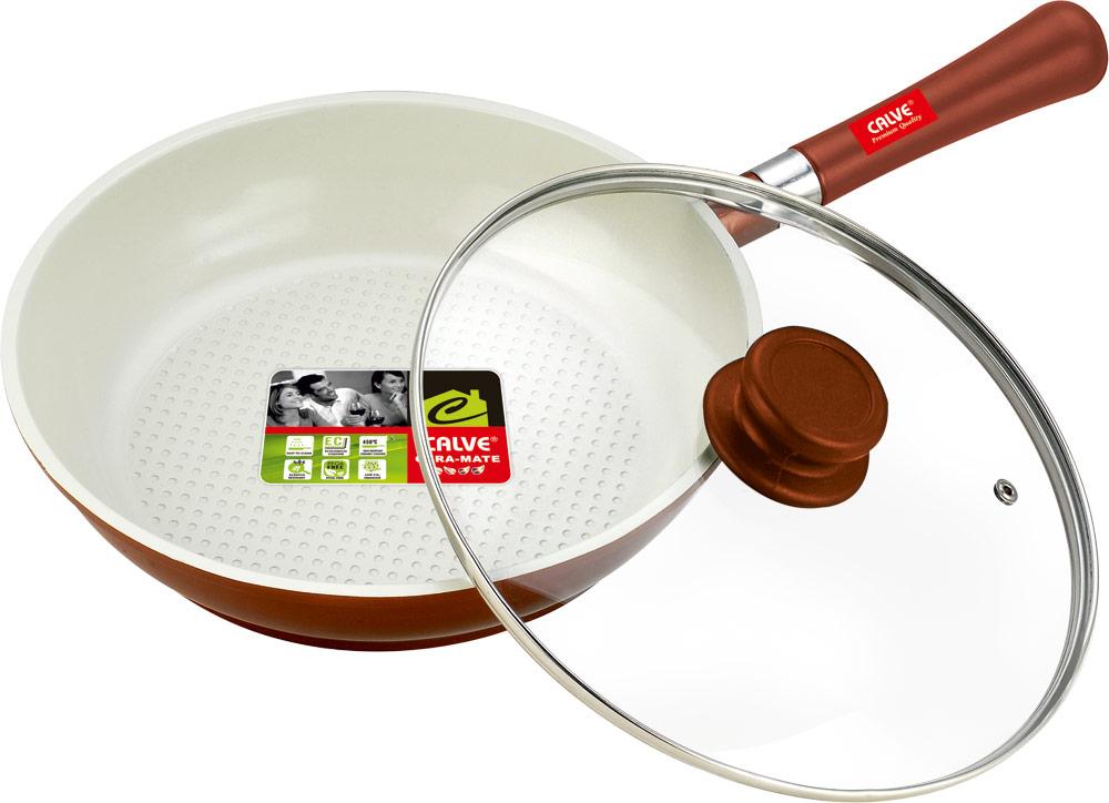 """Сковорода """"Calve"""" с крышкой, с керамическим покрытием, со съемной ручкой. Диаметр 26 см"""