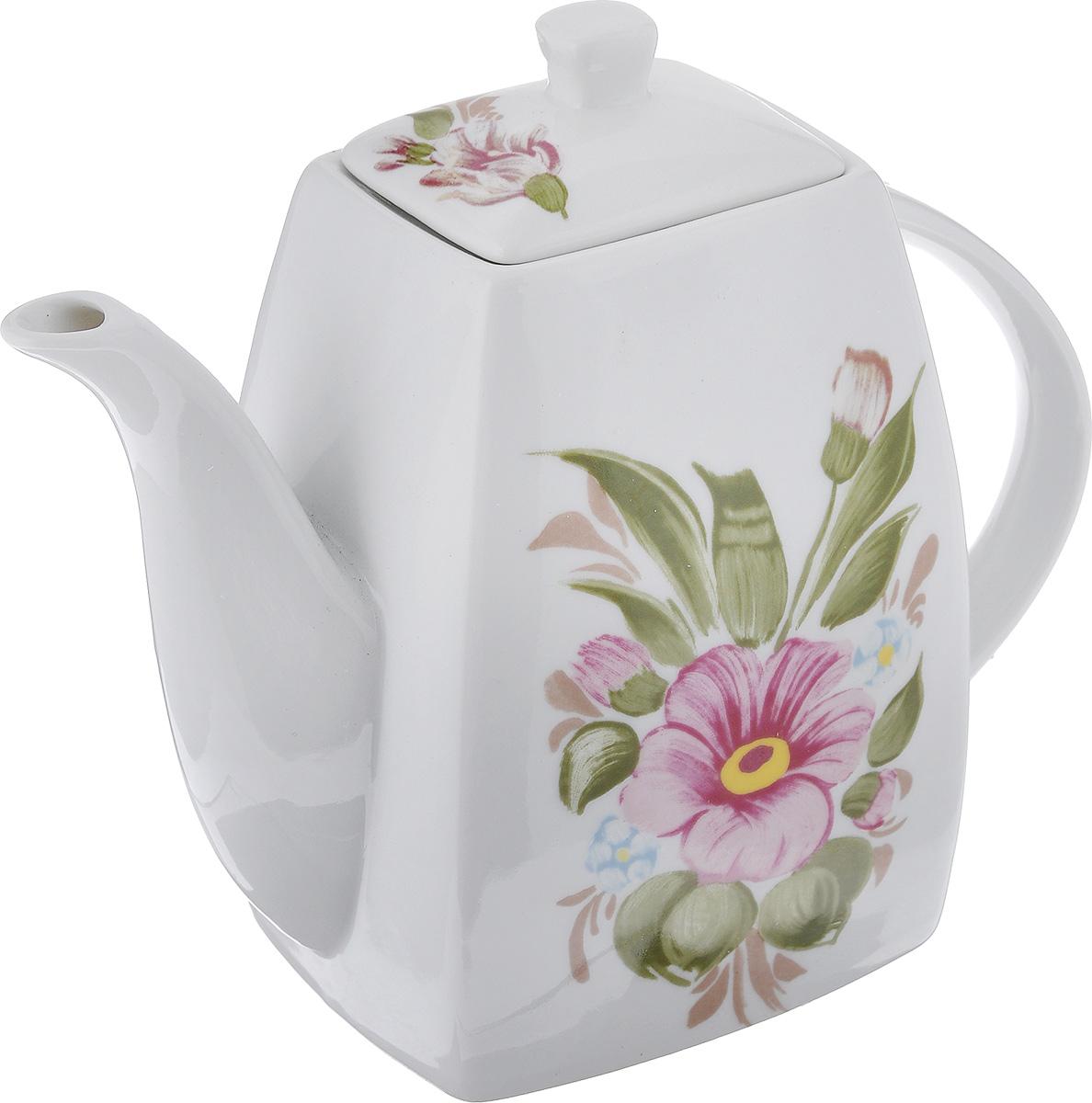 Чайник заварочный Loraine, 1 л. 2117521175Заварочный чайник Loraine поможет вам в приготовлении вкусного и ароматного чая, а также станет украшением вашей кухни. Он изготовлен из керамики и оформлен красочным изображением. Яркий цветочный рисунок придает чайнику особый шарм, он удобен в использовании и понравится каждому. Такой заварочный чайник станет приятным и практичным подарком на любой праздник. Размер чайника по верхнему краю: 8,2 см х 6,5 см. Размер дна: 11 см х 9 см. Высота чайника без учета крышки: 15,5 см.