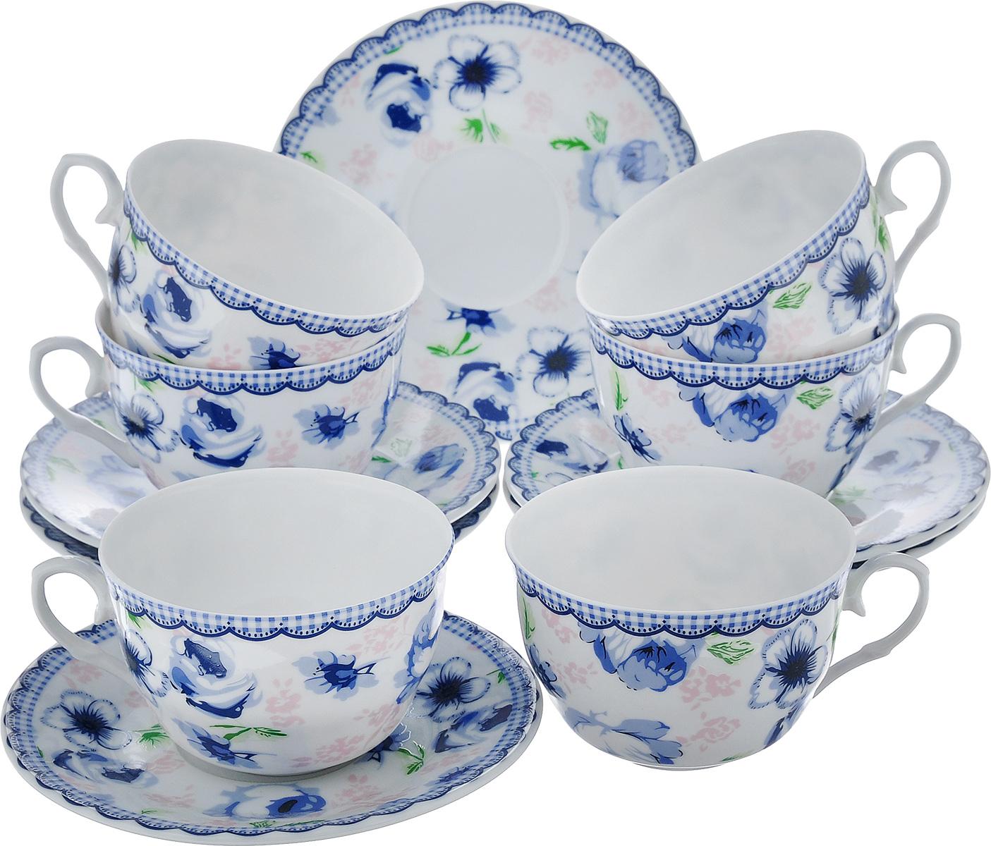 Чайный набор LarangE Кантри, цвет: белый, синий, 12 предметов586-319Чайный набор LarangE Кантри состоит из шести чашек и шести блюдец, изготовленных из фарфора. Предметы набора оформлены изящным ярким рисунком. Чайный набор LarangE Кантри украсит ваш кухонный стол, а также станет замечательным подарком друзьям и близким. Объем чашки: 250 мл. Диаметр чашки по верхнему краю: 9 см. Высота чашки: 6 см. Диаметр блюдца: 14,5 см.