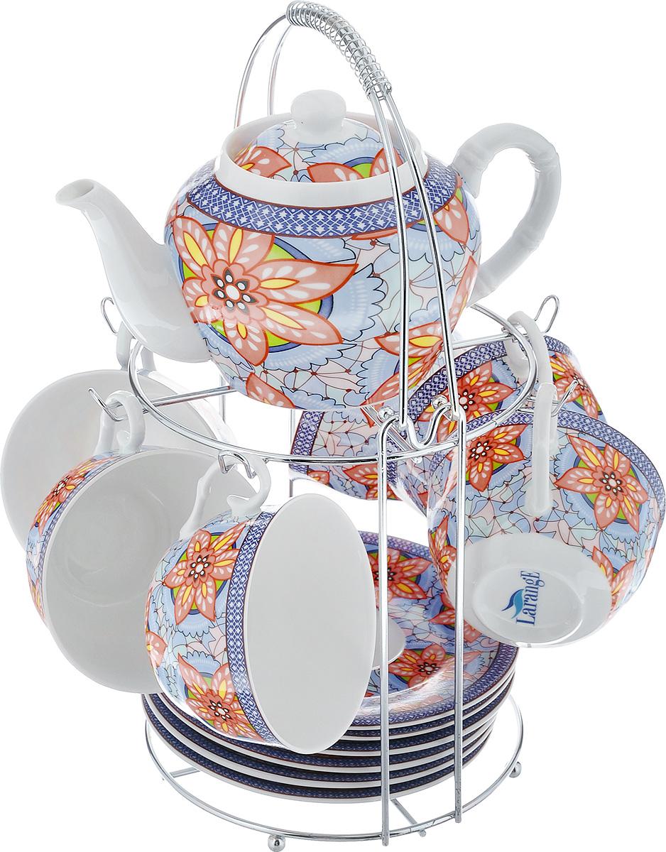 Чайный набор LarangE Витраж, цвет: голубой, персиковый, 14 предметов586-340Чайный набор LarangE Витраж состоит из шести чашек, шести блюдец и заварочного чайника, изготовленных из фарфора. Предметы набора оформлены изящным ярким рисунком и размещаются на металлической подставке. Чайный набор LarangE Витраж украсит ваш кухонный стол, а также станет замечательным подарком друзьям и близким. Объем чашки: 250 мл. Диаметр чашки по верхнему краю: 9 см. Высота чашки: 6 см. Диаметр блюдца: 14,5 см. Объем чайника: 600 мл. Диаметр чайника по верхнему краю: 7 см. Высота чайника (без учета крышки): 9 см. Размеры подставки (без учета ручки): 16 см х 20 см х 20 см.