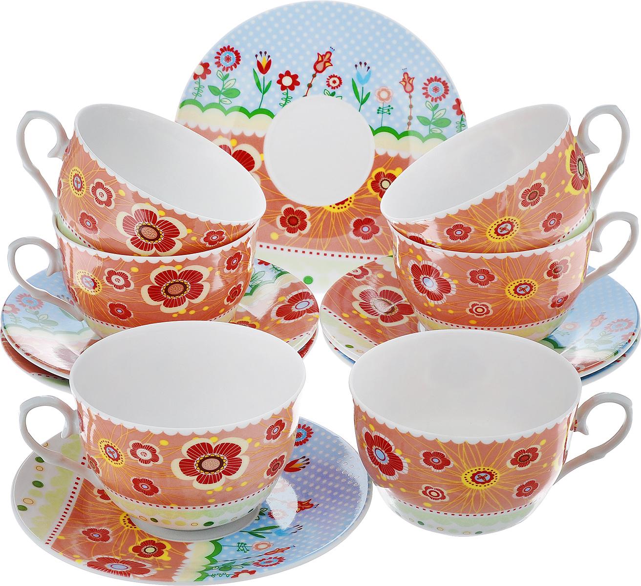 Чайный набор LarangE Фьюжн, цвет: оранжевый, голубой, 12 предметов586-317Чайный набор LarangE Фьюжн состоит из шести чашек и шести блюдец, изготовленных из фарфора. Предметы набора оформлены изящным ярким рисунком. Чайный набор LarangE Фьюжн украсит ваш кухонный стол, а также станет замечательным подарком друзьям и близким. Объем чашки: 250 мл. Диаметр чашки по верхнему краю: 9 см. Высота чашки: 6 см. Диаметр блюдца: 14,5 см.