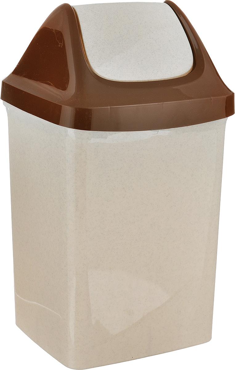 Контейнер для мусора Idea Свинг, цвет: бежевый, коричневый, 9 л80653Контейнер для мусора Idea Свинг изготовлен из прочного полипропилена (пластика). Контейнер снабжен удобной съемной крышкой с подвижной перегородкой. Благодаря лаконичному дизайну такой контейнер идеально впишется в интерьер и дома, и офиса.