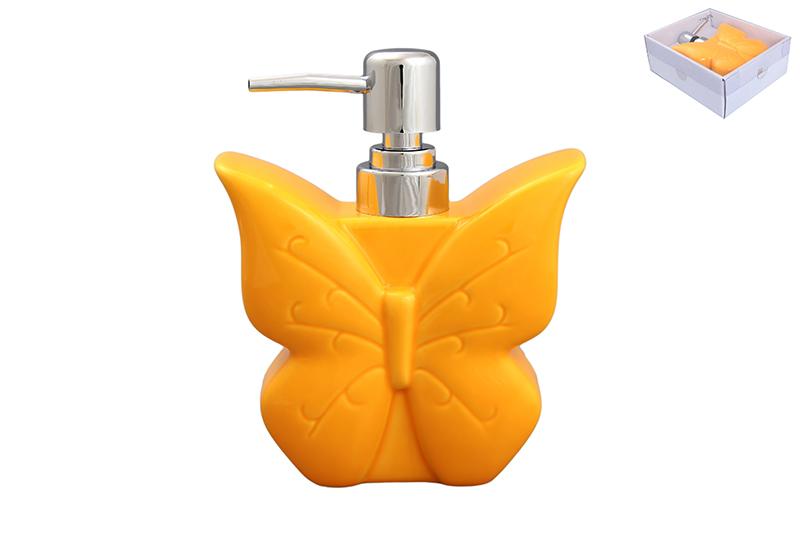 Дозатор Elan Gallery Бабочка, цвет: желтый, 350 мл190004Диспенсер для жидкого мыла Elan Gallery Бабочка, изготовленный из высококачественной керамики, имеет оригинальную форму. Диспенсер снабжен губкой для мытья посуды и дозатором. Дозатор выполнен из пластика под хром. Он очень удобен и прост в использовании: просто нажмите на него и выдавите необходимое количество средства. Диспансер подходит для жидкого мыла, моющего средства для мытья посуды, различных лосьонов. Такой диспансер дополнит интерьер кухни или ванной комнаты и станет замечательным приобретением для любой хозяйки. Размер диспенсера (с учетом дозатора): 12,5 см х 5 см х 15,2 см.