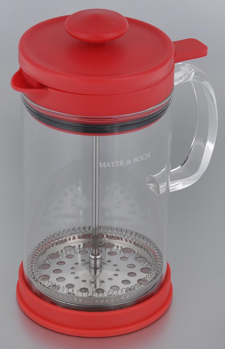 Френч-пресс Mayer & Boch, цвет: прозрачный, красный, 800 мл. 2126421264Френч-пресс Mayer & Boch позволит быстро и просто приготовить свежий и ароматный кофе или чай. Цветовая гамма подойдет даже для самого яркого интерьера. Френч-пресс изготовлен из высокотехнологичных материалов на современном оборудовании: - корпус изготовлен из высококачественного жаропрочного стекла, устойчивого к окрашиванию и царапинам; - фильтр-поршень из нержавеющей стали выполнен по технологии press-up для обеспечения равномерной циркуляции воды; - яркая подставка из инертного силикона препятствует скольжению френч-пресса. Практичный и стильный дизайн френч-пресса Mayer & Boch полностью соответствует последним модным тенденциям в создании предметов бытового назначения.