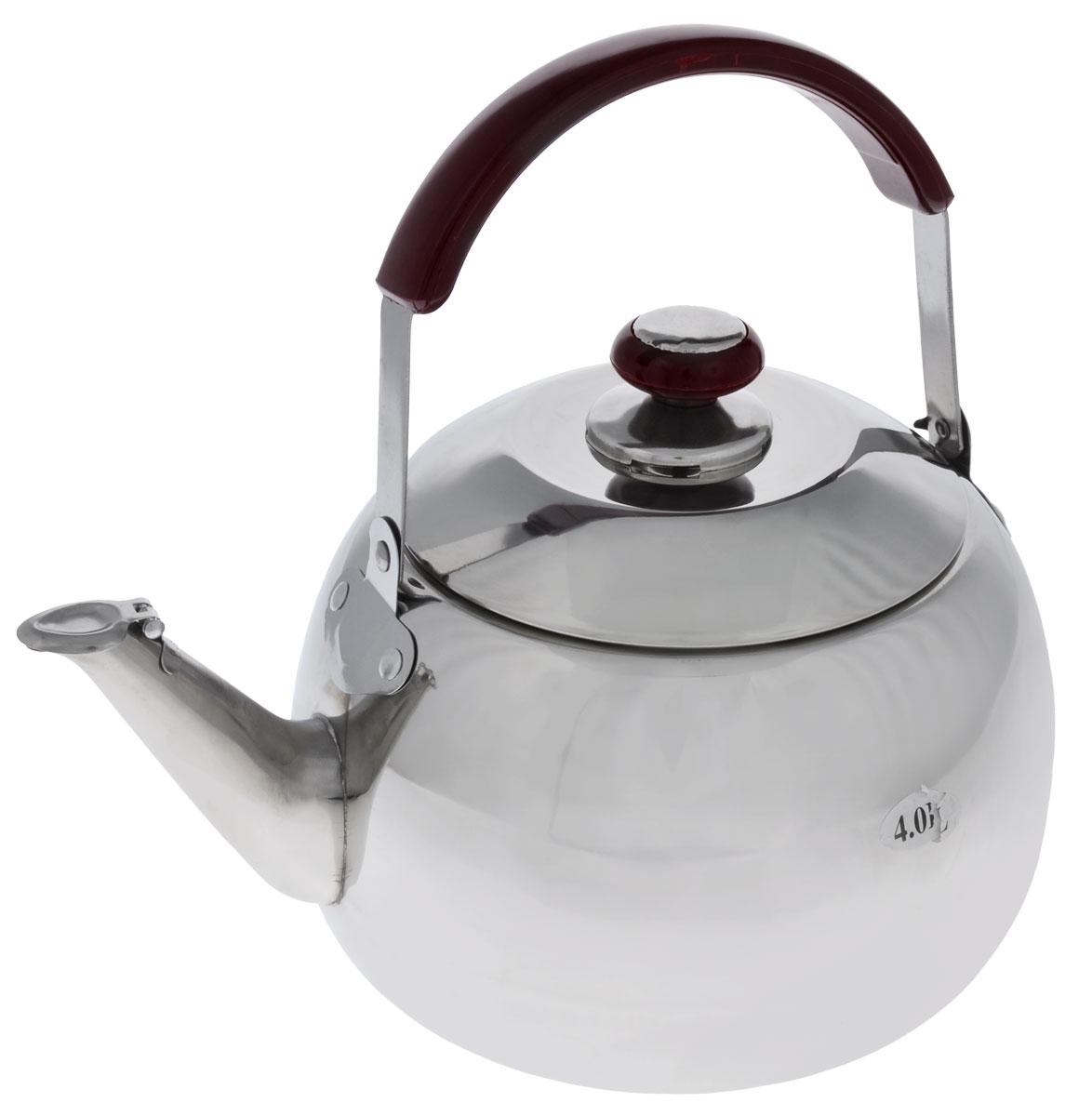 Чайник Mayer & Boch со свистком, 4 л2524Корпус чайника Mayer & Boch выполнен из высококачественной нержавеющей стали с зеркальной поверхностью, что обеспечивает долговечность использования. Подвижная ручка из стали с накладкой из бакелита делает использование чайника очень удобным и безопасным. Крышка из нержавеющей стали снабжена свистком, что позволит вам контролировать процесс подогрева или кипячения воды. Капсулированное дно с прослойкой из алюминия обеспечивает наилучшее распределение тепла. Эстетичный и функциональный, с эксклюзивным дизайном, чайник будет оригинально смотреться в любом интерьере. Можно мыть в посудомоечной машине. Диаметр основания чайника: 17 см. Высота чайника (без учета крышки): 13 см. Высота чайника (с учетом крышки): 18 см.