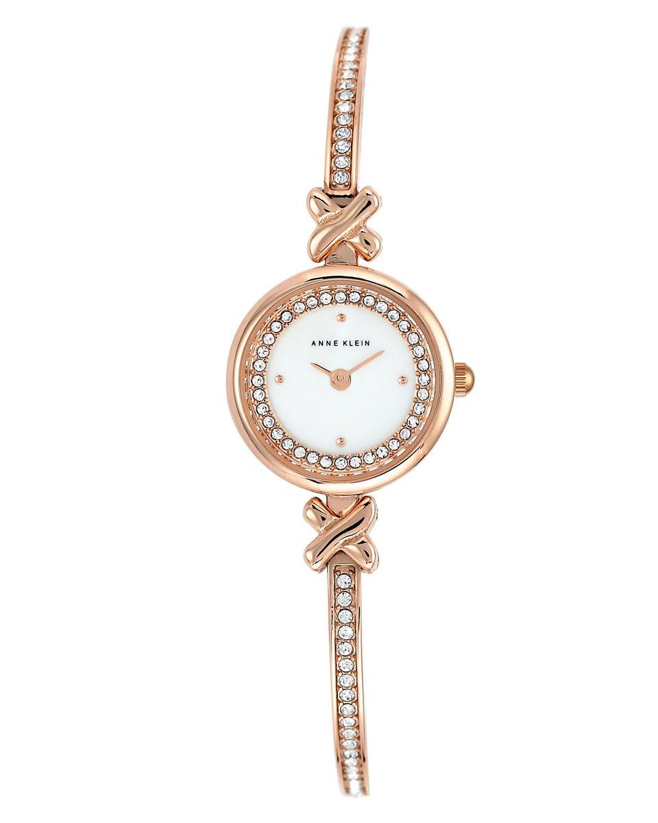 Наручные часы женские Anne Klein, цвет: розовый, белый. 1688 MPRGBP-001 BKКорпус: металл, PVD - покрытие,кристаллы, 25 мм, стекло: минеральное, браслет: металл, PVD - покрытие, кристаллы, механизм: кварцевый, водозащита: 2 ATM
