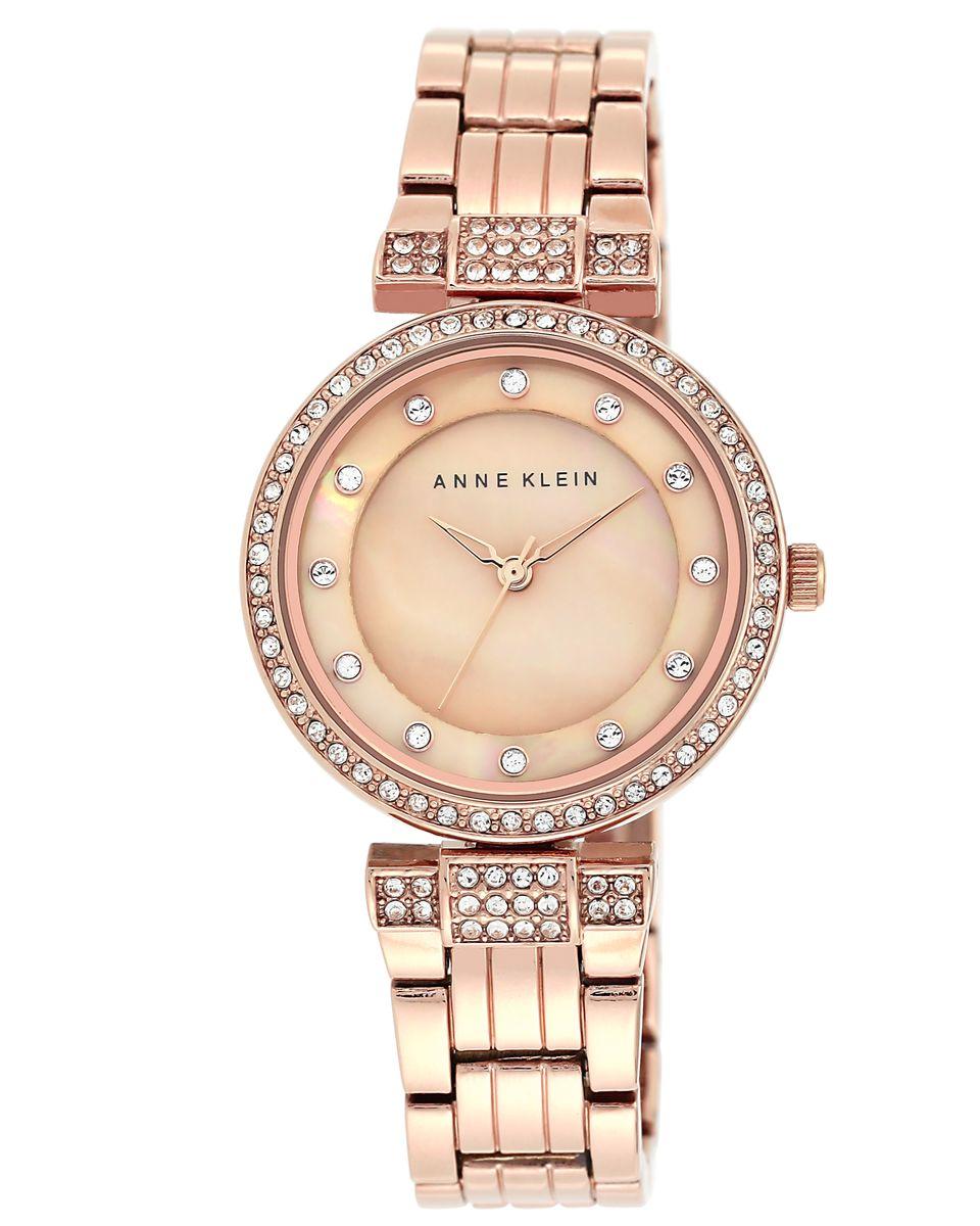 Наручные часы женские Anne Klein, цвет: розовый, коричневый. 1852 RMRGBP-001 BKКорпус: металл, кристаллы, 32 мм, PVD покрытие, стекло: минеральное, браслет: металл, кристаллы, PVD покрытие, механизм: кварцевый, водозащита: 2 ATM