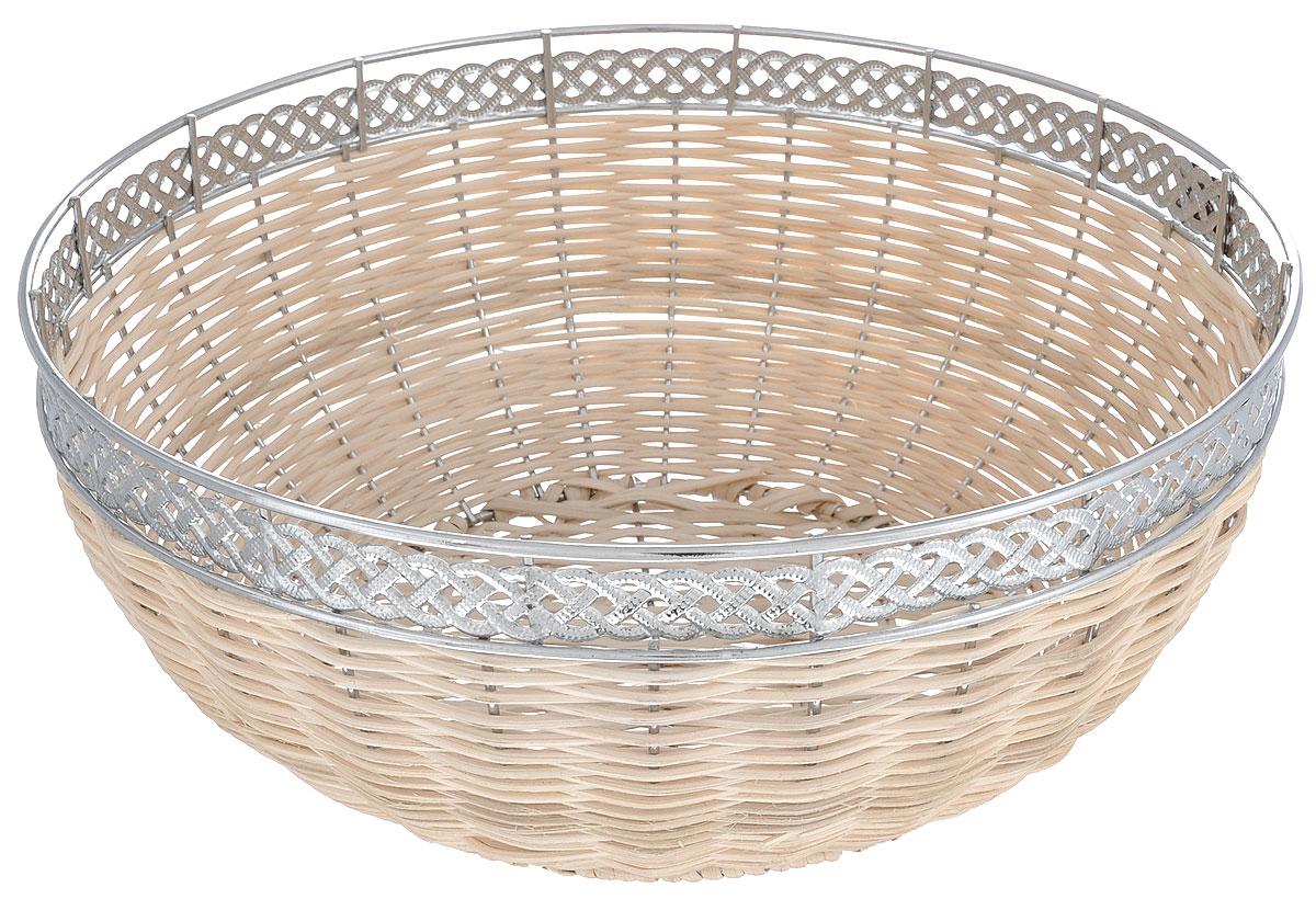 Корзинка для хлеба Mayer & Boch, диаметр 27 смVT-1520(SR)Оригинальная плетеная корзинка Mayer & Boch круглой формы, выполнена из металла и ротанга. Корзинка прекрасно подойдет для вашей кухни. Она предназначена для красивой сервировки как хлебобулочной продукции, так и фруктов.Изящный дизайн придется по вкусу и ценителям классики, и тем, кто предпочитает утонченность и изысканность. Диаметр (по верхнему краю): 27 см.Высота: 12,3 см.