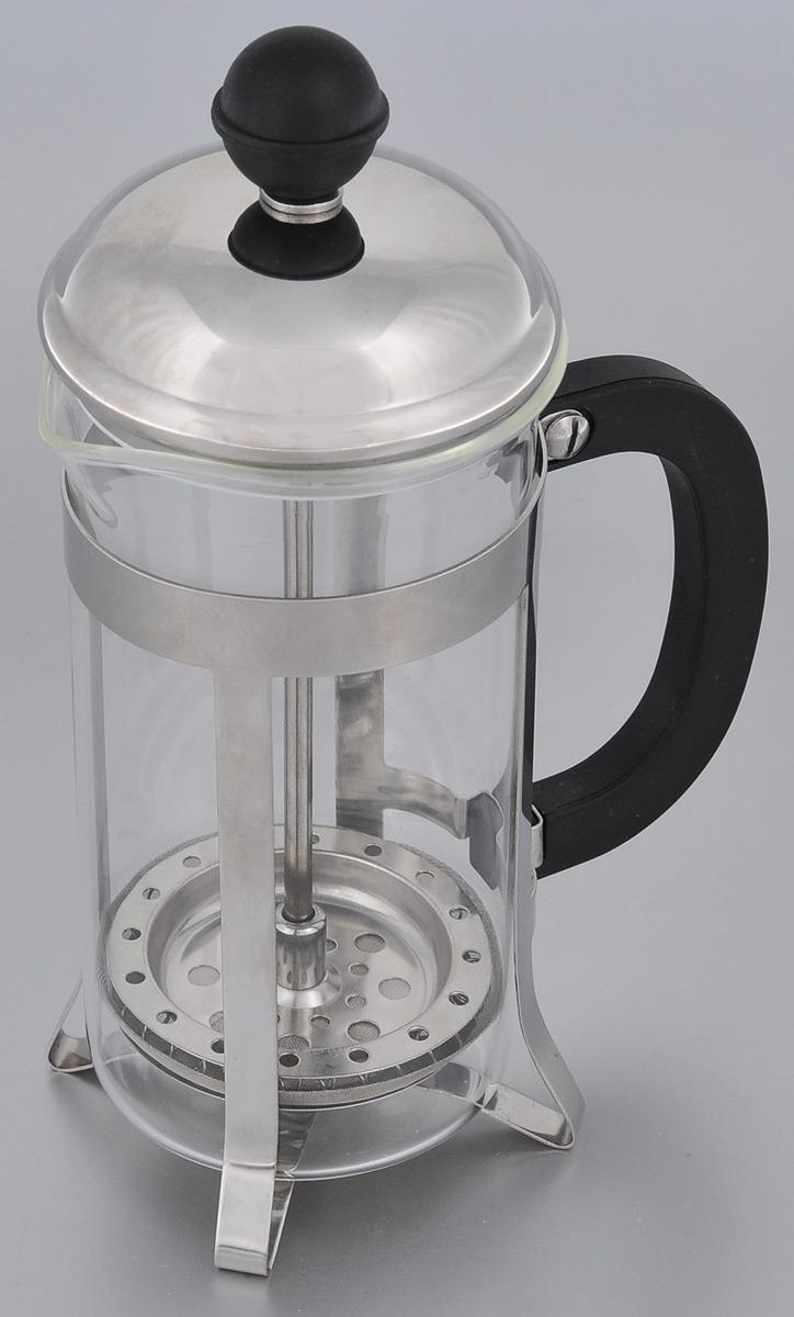 Френч-пресс Miolla, 350 мл1014043UФренч-пресс Miolla используется для заваривания кофе, крупнолистового чая, травяных сборов. Изготовлен из высококачественной нержавеющей стали и упрочненного термостойкого стекла, выдерживающего высокую температуру, что придает ему надежность и долговечность. Пластиковая рукоятка и ручка крышку выполнены из прочного нетоксичного пластика. Не использовать в микроволновой печи. Нельзя мыть в посудомоечной машине.