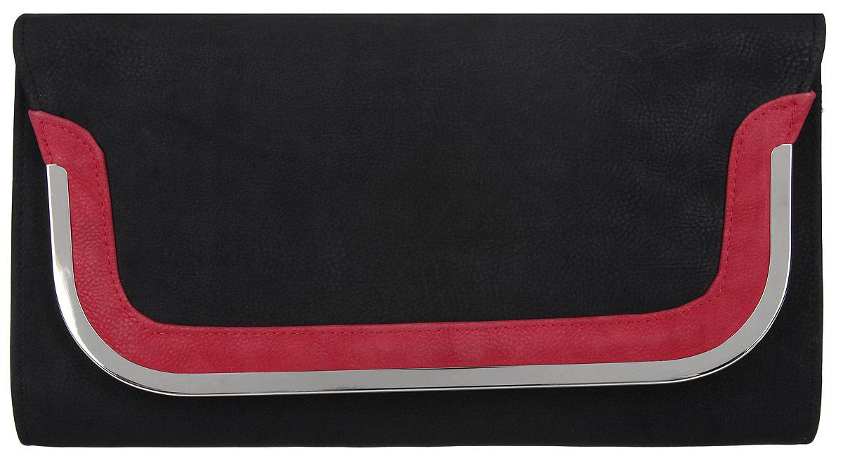 Клатч женский Eleganzza, цвет: черный, красный. ZZ-12650-13-47670-00504Стильный женский клатч Eleganzza выполнен из искусственного нубука.Изделие имеет одно основное отделение, внутри которого имеется открытый накладной карман. Закрывается клатч на клапан с магнитной кнопкой. Вдоль края клапан оформлен металлической вставкой.Модель оснащена съемным плечевым ремнем.Роскошный клатч внесет элегантные нотки в ваш образ и подчеркнет ваше отменное чувство стиля.