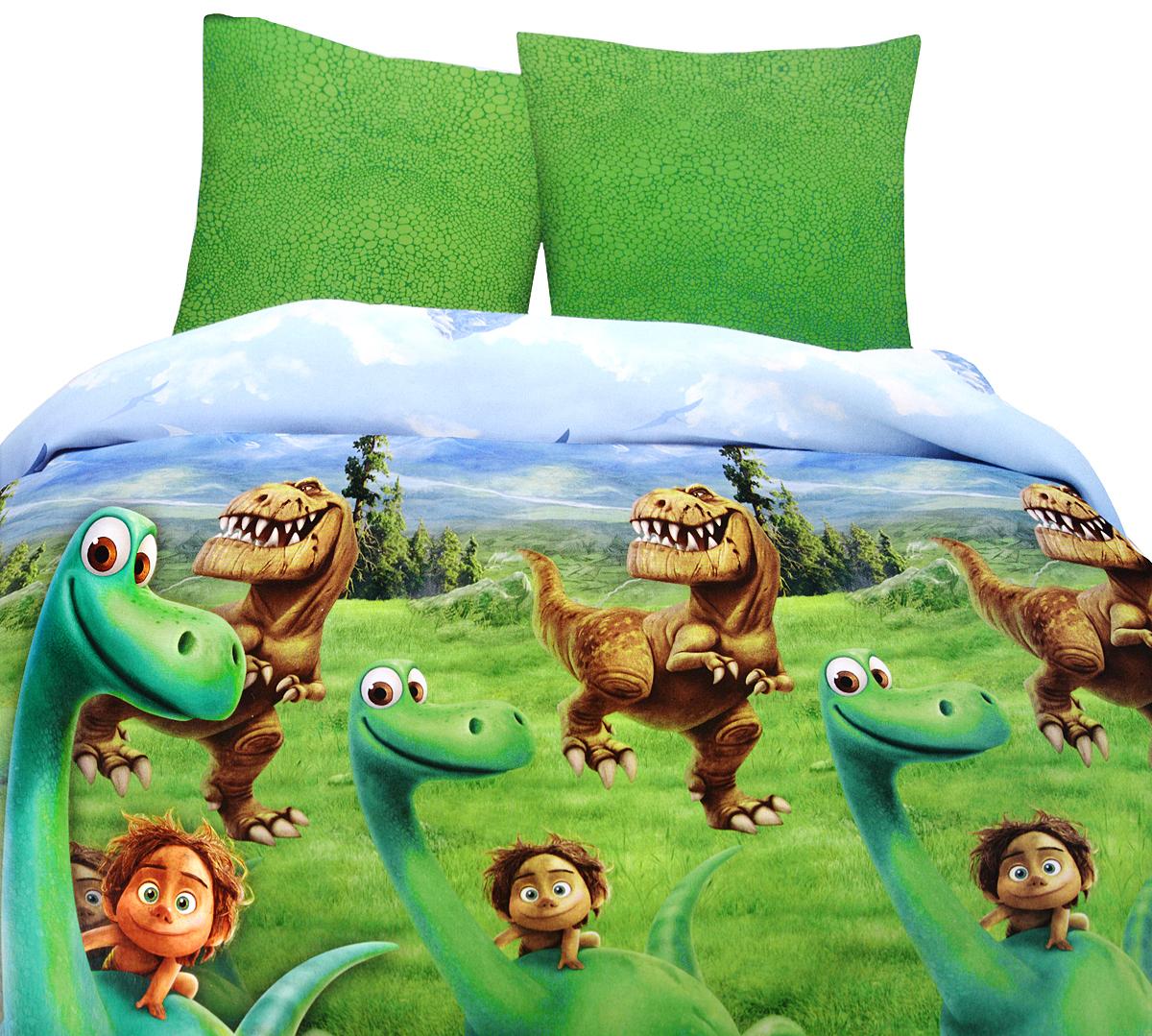 Хороший динозавр Комплект детского постельного белья Динозавр 1,5-спальный1030_бежевая уточкаКомплект детского постельного белья Хороший динозавр Динозавр, состоящий из наволочки, простыни и пододеяльника, выполнен из натурального 100% хлопка. Пододеяльник оформлен рисунком в виде героев мультфильма Хороший Динозавр. Хлопок - это натуральный материал, который не раздражает даже самую нежную и чувствительную кожу малыша, не вызывает аллергии и хорошо вентилируется. Такой комплект идеально подойдет для кроватки вашего малыша. На нем ребенок будет спать здоровым и крепким сном.