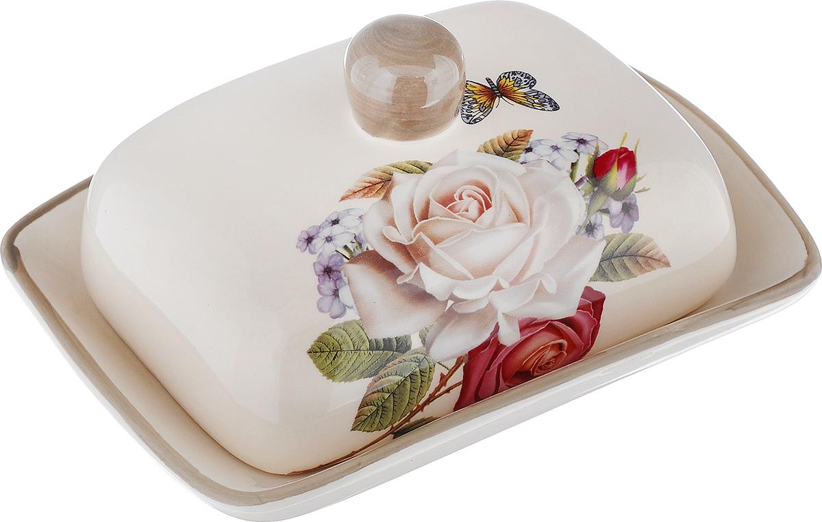Масленка Loraine Розы. 21704VT-1520(SR)Масленка Loraine Розы, выполненная из высококачественной керамики в виде подноса с крышкой, станет не заменимым помощником на вашей кухне. Изделие оформлено ярким изображением цветов и имеет изысканный внешний вид. Масленка предназначена для красивой сервировки стола и хранения масла.Можно мыть в посудомоечной машине, использовать в микроволновой печи и холодильнике.Размер подноса: 18 см х 13,5 см х 3 см.Высота масленки (с учетом крышки): 8 см.