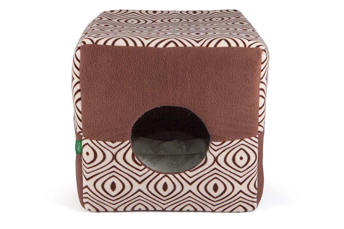 Домик для кошек и собак Titbit, коричневый, бежевый, 38 х 38 х 38 см0120710Домик Titbit - удобное и практичное изделие. Может использоваться как домик и как лежак. Предназначен для кошек и небольших собак. Выполнен из приятного и качественного материала (флис). Имеет мягкую подушку из натуральной хлопковой ткани и износостойкое дно из прочного материала (оксфорд).Изделие не требует специального ухода.Разрешена сухая и влажная чистка. Машинная стирка запрещена.Допускается машинная стирка подушки на деликатном режиме.Мягкий лежак станет излюбленным местом вашего питомца, подарит ему спокойный и комфортный сон, а также убережет вашу мебель от шерсти.