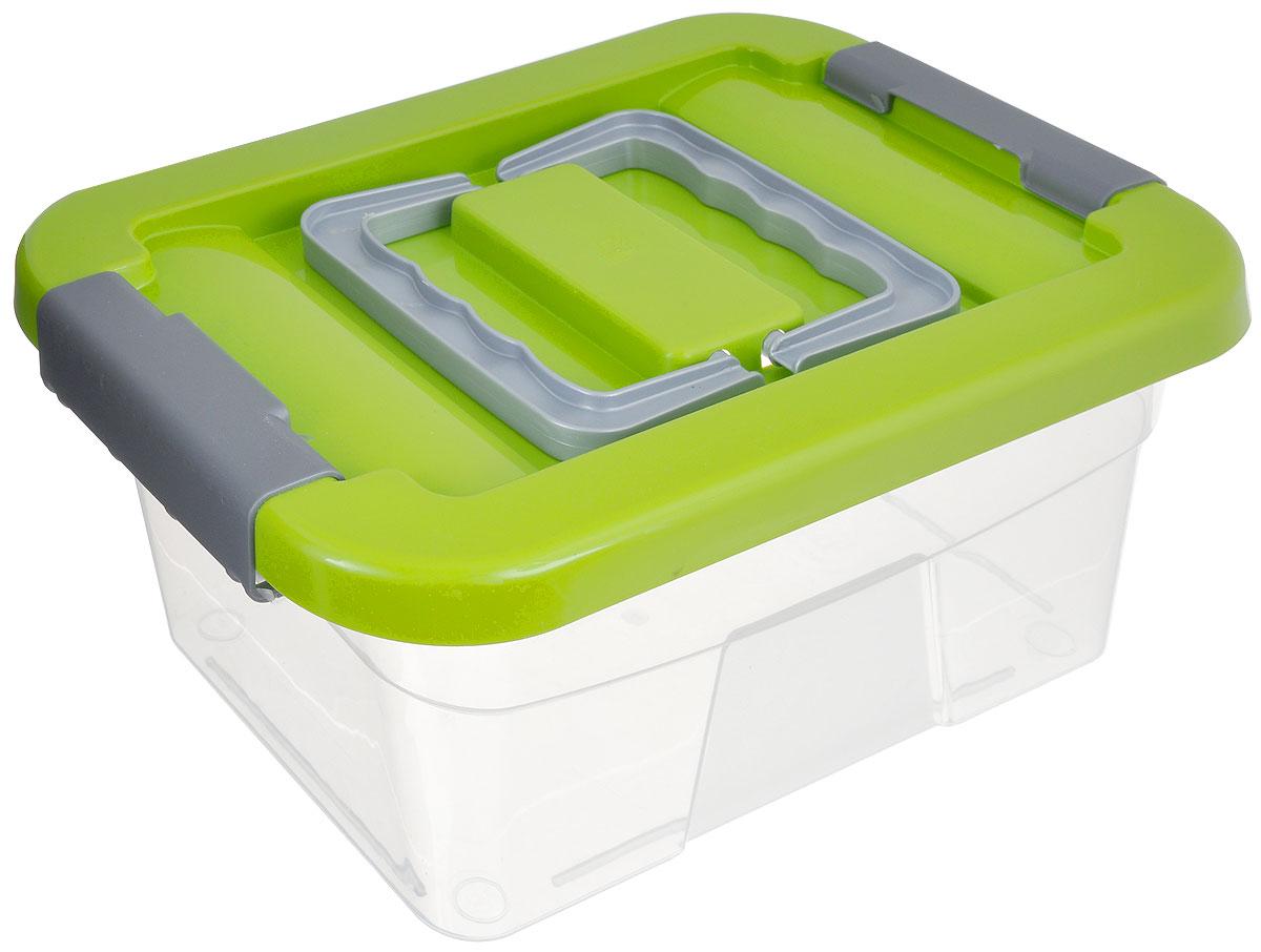 Контейнер хозяйственный Gensini, цвет: прозрачный, салатовый, 5 л10503Хозяйственный контейнер Gensini, выполненный из пластика, предназначен для надежного хранения вещей. Крышка контейнера закрывается по бокам на две защелки, которые предотвращают случайное открывание. Также на крышке имеются две складные ручки для удобной переноски.Размер: 29 х 19,5 х 13,5 см.