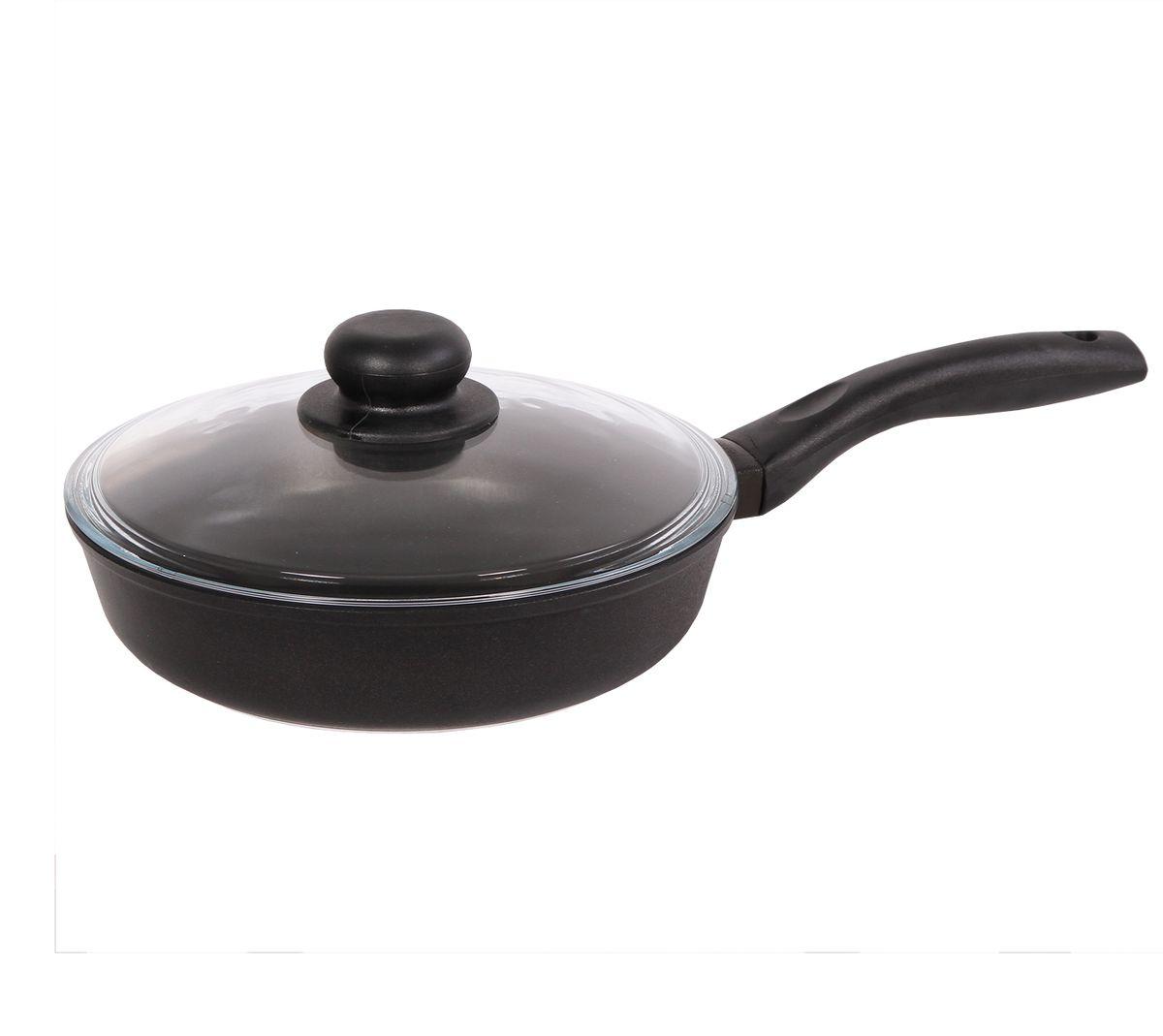 Сковорода, диаметр 22 см, с пластиковой ручкой и стеклянной крышкой БИОЛ2207ПС
