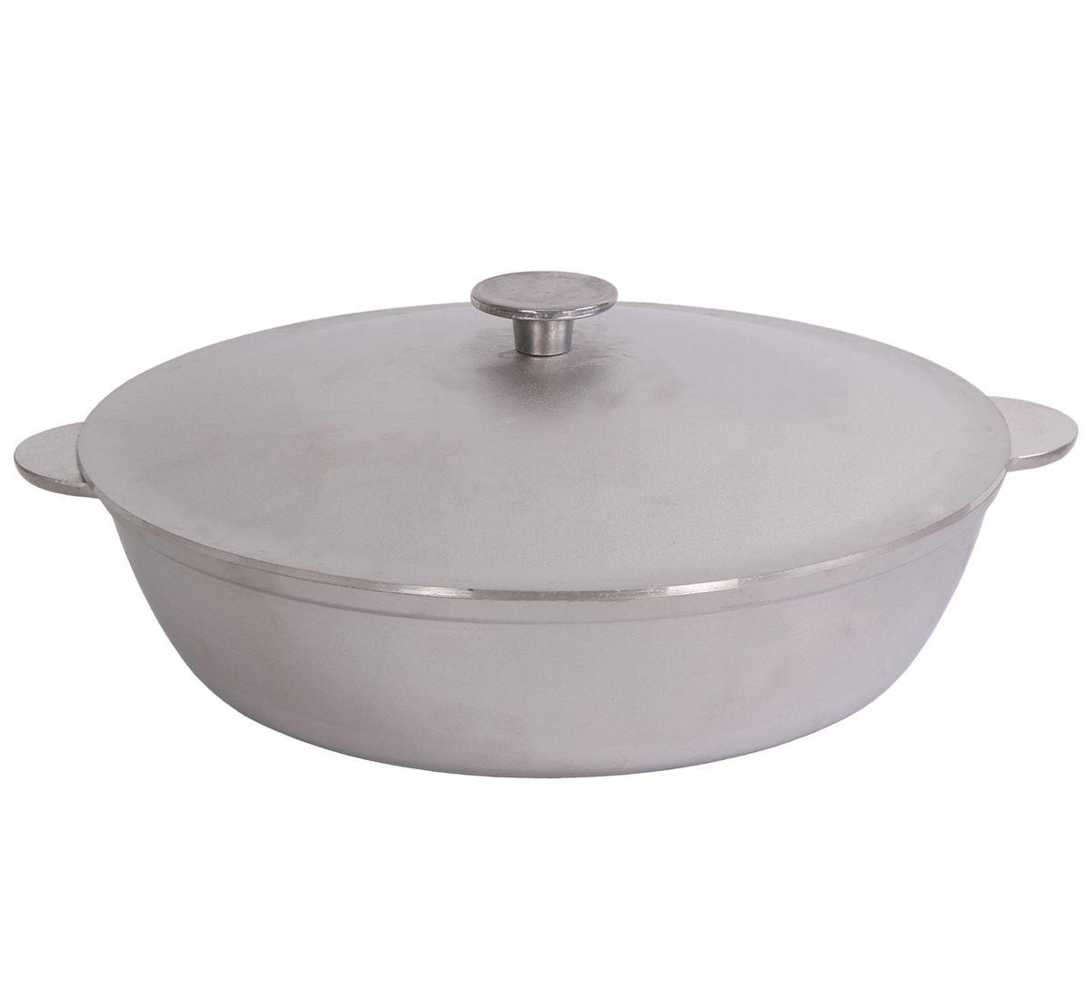 Сковорода Биол с крышкой. Диаметр 32 смА323Сковорода Биол изготовлена из литого алюминия. Изделие оснащено плотно прилегающей крышкой, позволяющей сохранить аромат готовящегося блюда. Сковорода снабжена двумя эргономичными ручками. Нельзя оставлять приготовленную пищу в посуде для хранения. Сковороду можно использовать на газовых, электрических и стеклокерамических плитах. Высота стенки: 8,3 см. Диаметр (по верхнему краю): 32 см. Ширина (с учетом ручек): 37,5 см.