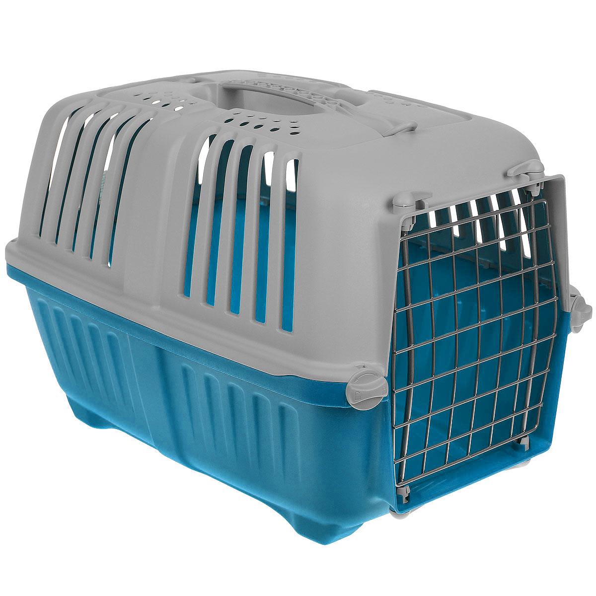 Переноска для животных MPS Pratiko, цвет: серый, голубой, 48 см х 31,5 см х 33 смS01140100_серый, голубойПереноска MPS Pratiko, выполненная из легкого пластика, прекрасно подойдет для транспортировки кошек и собак мелких пород. Дно переноски снабжено устойчивыми ножками. Крышка с отверстиями для вентиляции оснащена влитой ручкой для большей безопасности при транспортировке и двумя петлями для крепления ремня. Крышка и металлическая дверь крепится к поддону на поворотные фиксаторы. Переноска легко собирается.