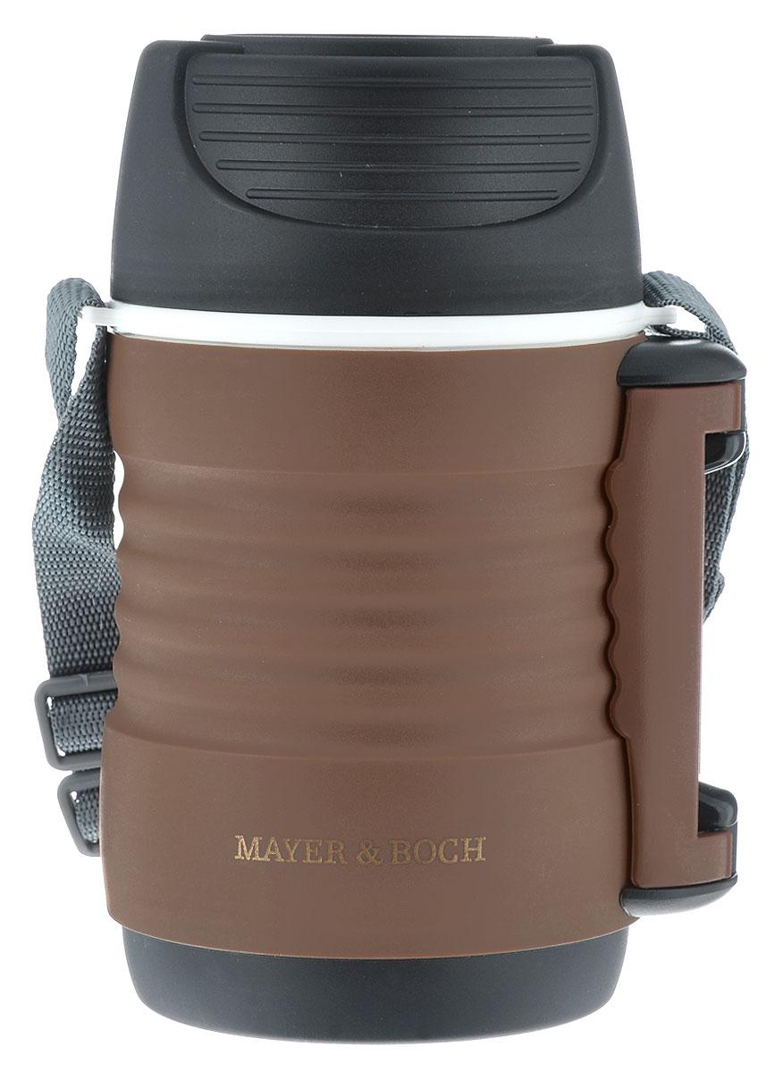 Термос пищевой Mayer & Boch, цвет: кофейный, черный, 700 мл23731Пищевой термос Mayer & Boch пригодится в любой ситуации: будь то экстремальный поход, пикник, поездка, или вы просто хотите взять с собой домашнюю еду в офис. Корпус термоса выполнен из цветного пищевого полипропилена. На корпусе термоса для удобства переноски предусмотрены ручка и ремень. Колба термоса изготовлена из прочной нержавеющей стали, которая устойчива к механическим повреждениям, она не разобьется при падении и не треснет от резкого перепада температуры. В широкое горлышко термоса помещены два контейнера с крышками, изготовленные из пищевого полипропилена белого цвета. Крышки легко открывается и плотно закрывается с помощью легкого щелчка. Термос Mayer & Boch - это идеальный вариант для переноски нескольких разных блюд. В него поместится все необходимое, и вы в любое время сможете вкусно и быстро пообедать. Диаметр термоса (по верхнему краю): 9 см. Высота термоса (без учета крышки): 17,6 см. Диаметр контейнеров: 8 см. ...
