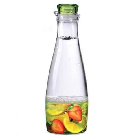 Кувшин Prodyne, цвет: прозрачный, зеленый, 1,5 лFI-50-GТеперь вы можете наслаждаться натуральными фруктовыми напитками без особого труда. Просто положите свои любимые фрукты в нижнюю часть кувшина Prodyne, установите верхнюю секцию и залейте воду. Изделие выполнено из высококачественного акрила. Удобная пробка с силиконовой прокладкой надолго сохранит прекрасный аромат, а сетчатая перепонка между секциями удержит кусочки в нижней части для большего удобства. Несмотря на свой объем, кувшин отлично поместится в дверце большинства холодильников. Диаметр по верхнему краю: 7 см. Диаметр дна: 10 см. Высота с учетом крышки: 31,5 см.